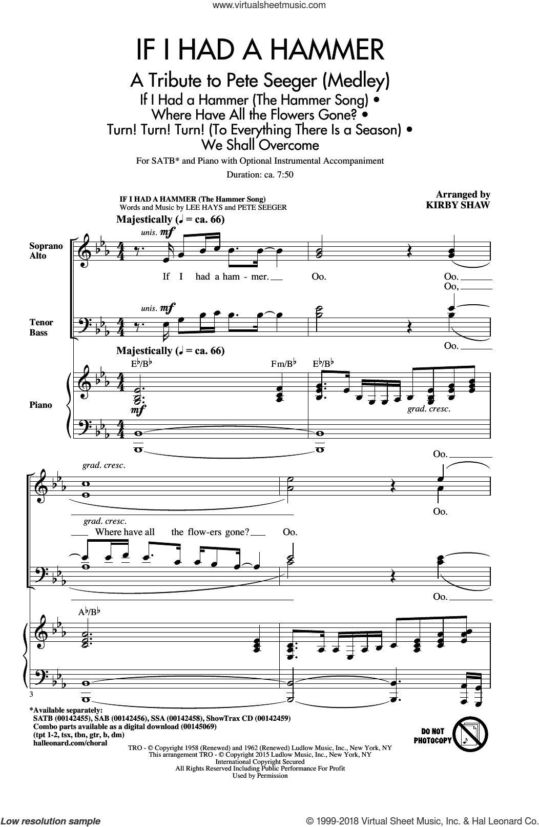 If I Had A Hammer (The Hammer Song) sheet music for choir (SATB: soprano, alto, tenor, bass) by Pete Seeger, Kirby Shaw, Peter, Paul & Mary, Trini Lopez and Lee Hays, intermediate. Score Image Preview.