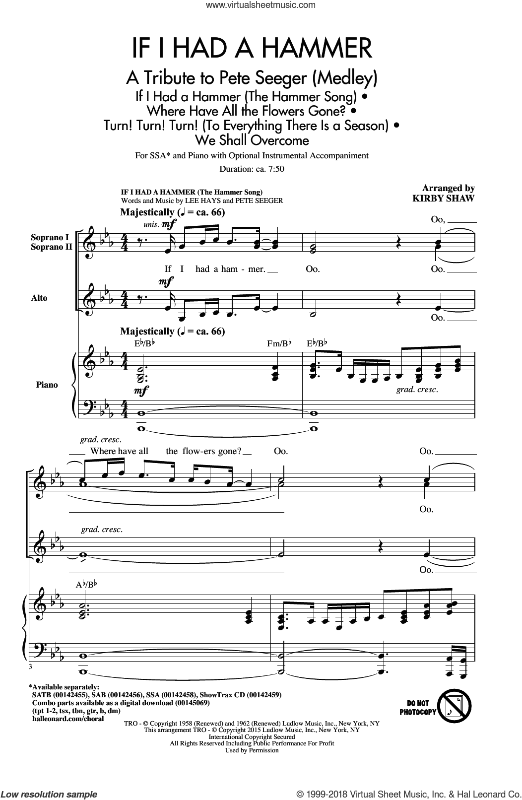 If I Had A Hammer (The Hammer Song) sheet music for choir and piano (SSA) by Lee Hays, Kirby Shaw, Peter, Paul & Mary and Pete Seeger. Score Image Preview.