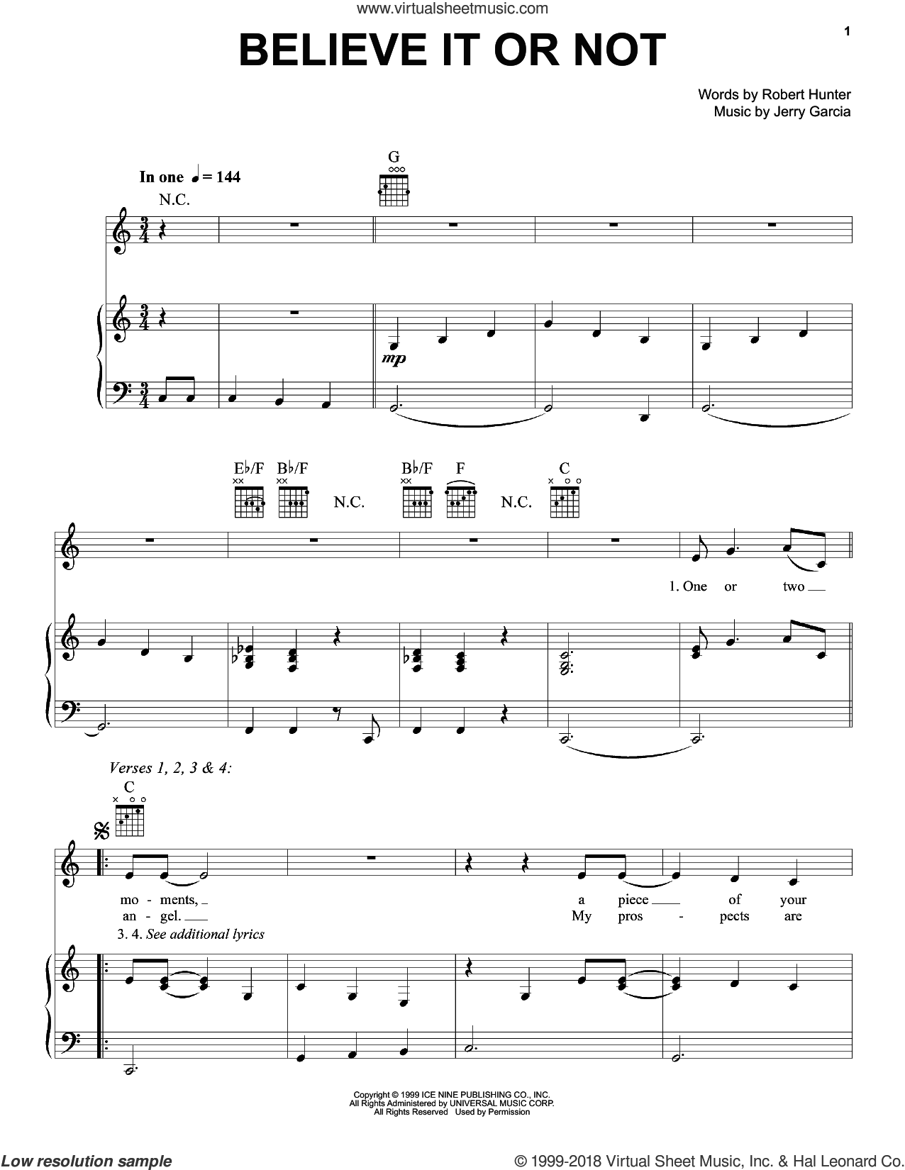 Believe It Or Not sheet music for voice, piano or guitar by Grateful Dead, Jerry Garcia and Robert Hunter, intermediate. Score Image Preview.