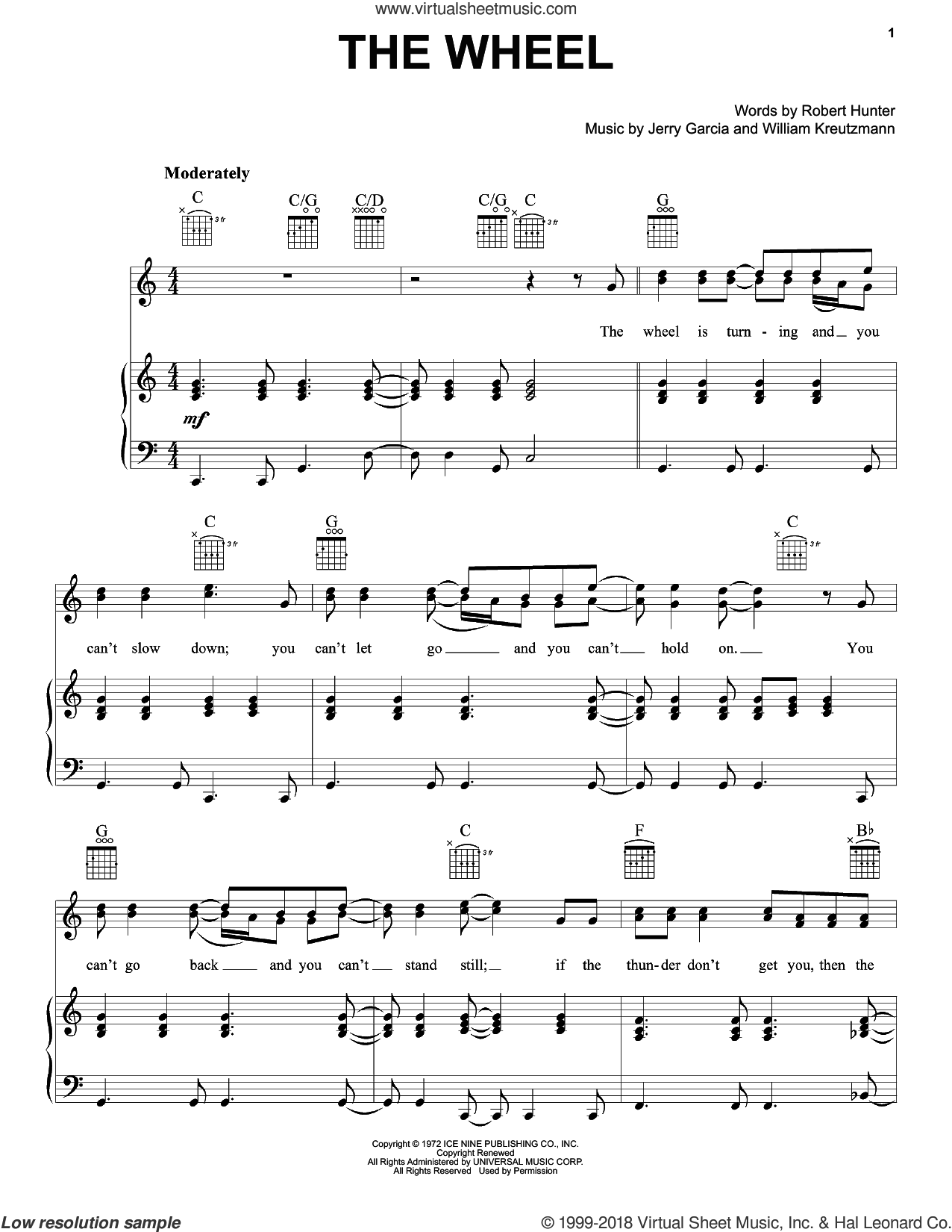 The Wheel sheet music for voice, piano or guitar by Grateful Dead, intermediate. Score Image Preview.
