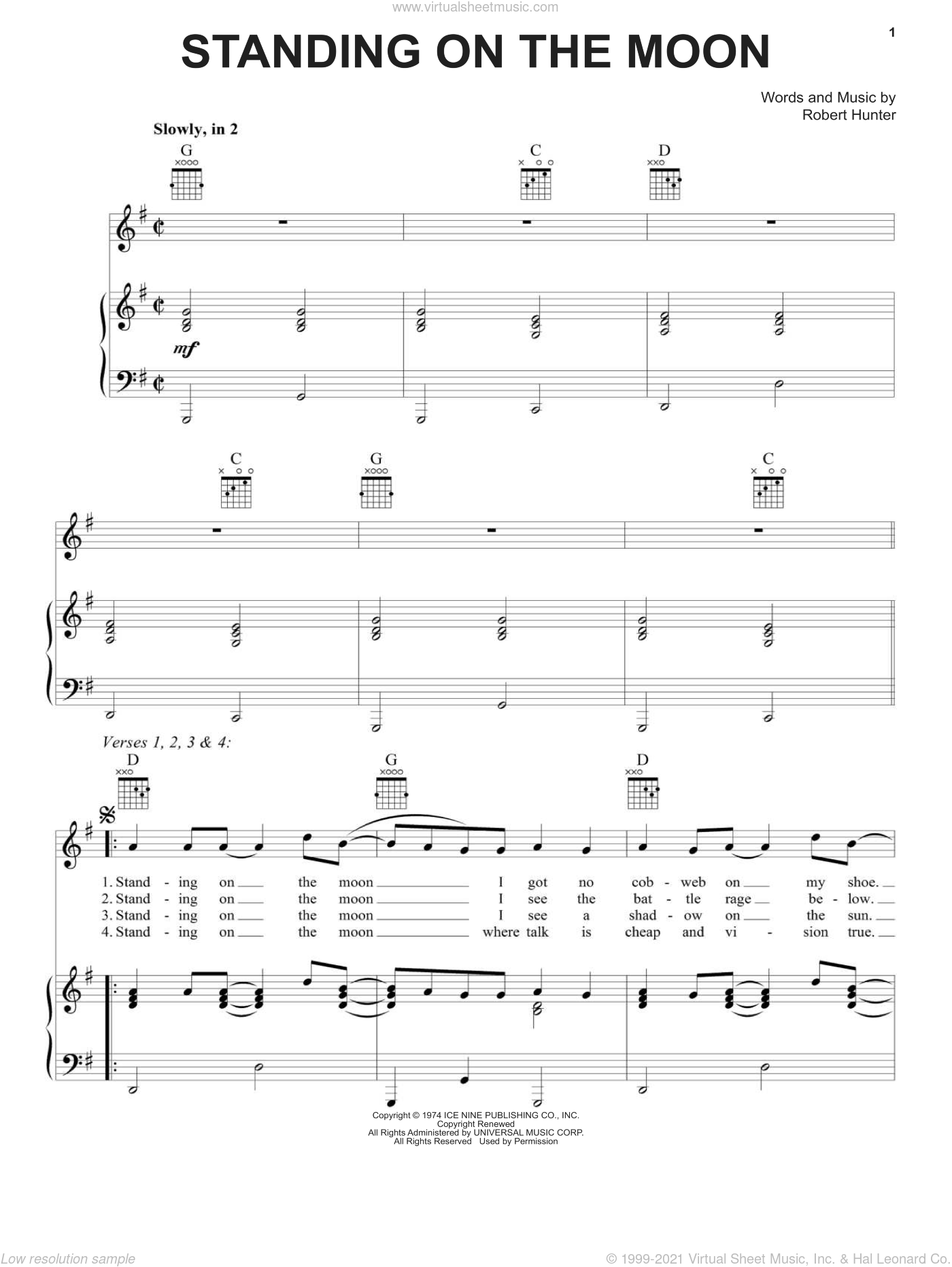 Standing On The Moon sheet music for voice, piano or guitar by Grateful Dead, intermediate voice, piano or guitar. Score Image Preview.