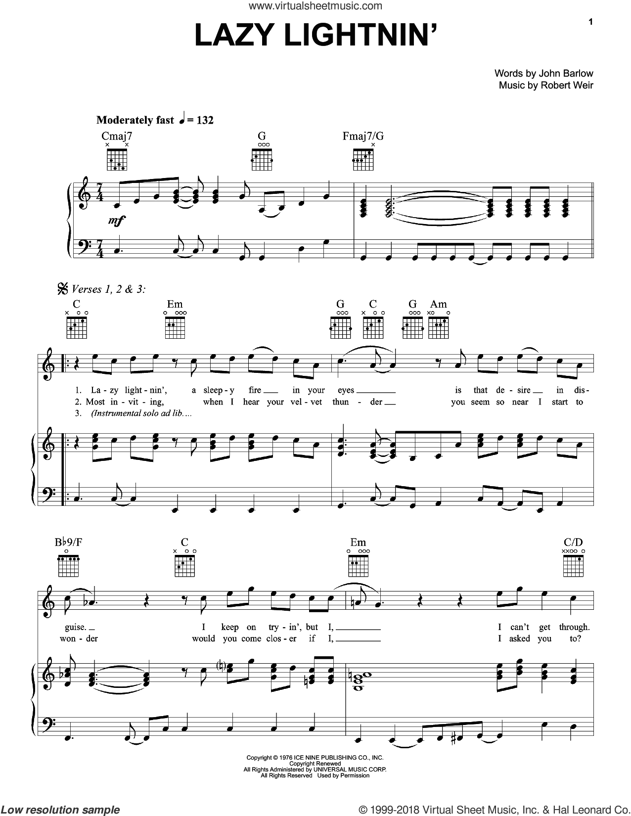 Lazy Lightnin' sheet music for voice, piano or guitar by Robert Weir, Grateful Dead and John Barlow. Score Image Preview.