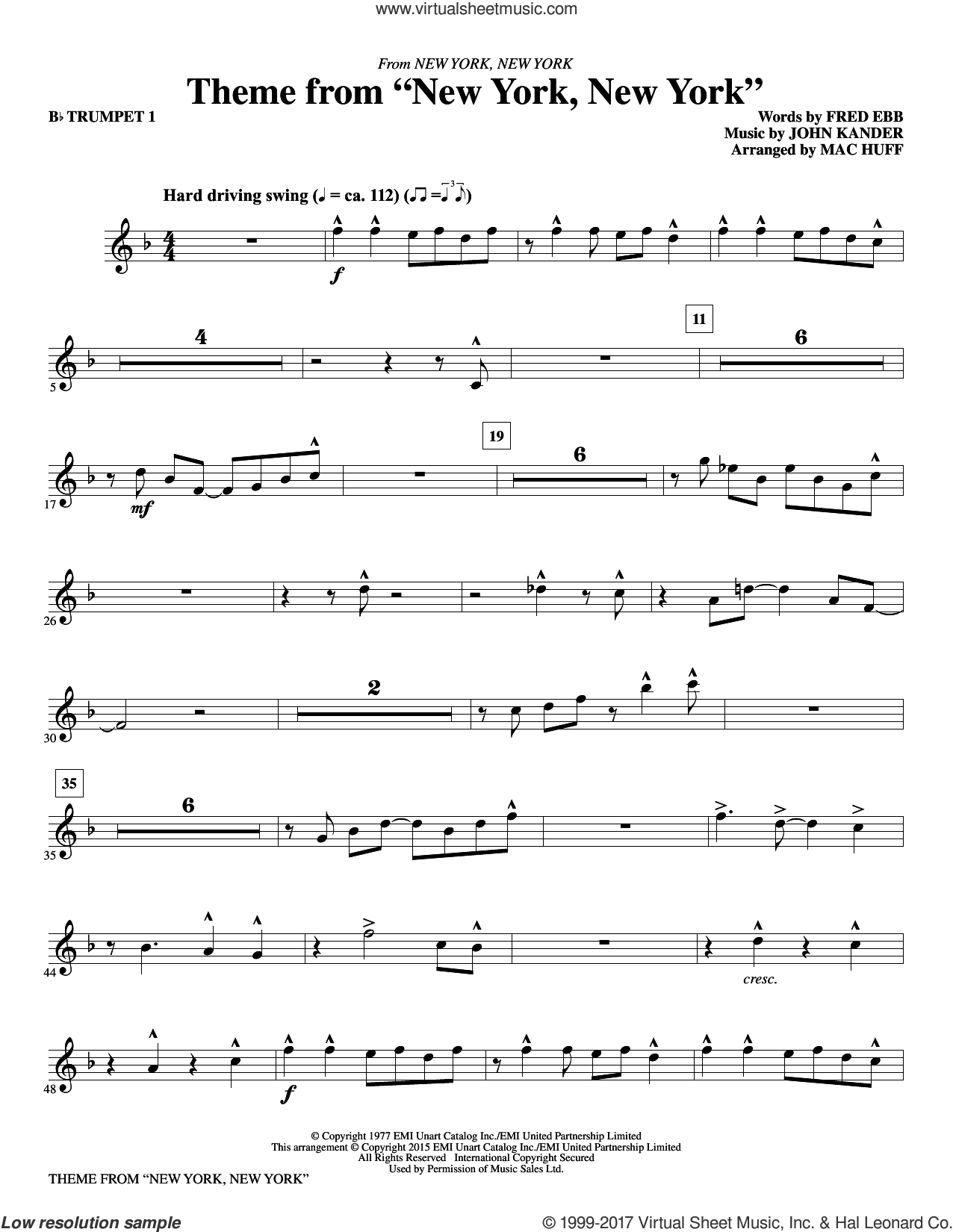 Theme from 'New York, New York' (complete set of parts) sheet music for orchestra/band by Frank Sinatra, Fred Ebb, John Kander, Liza Minnelli and Mac Huff, intermediate skill level