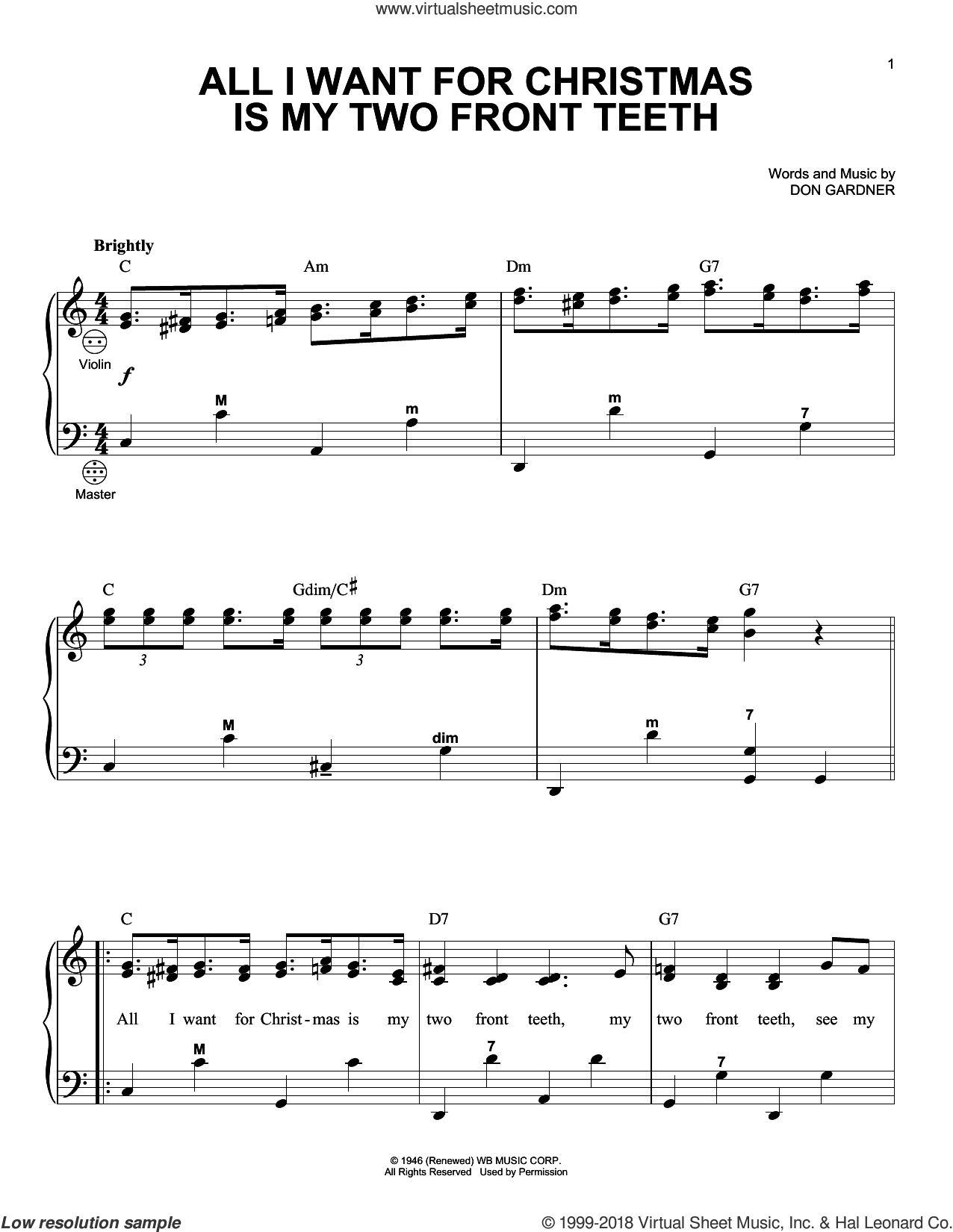 All I Want For Christmas Is My Two Front Teeth sheet music for accordion by Don Gardner, Gary Meisner and Spike Jones & The City Slickers, intermediate skill level