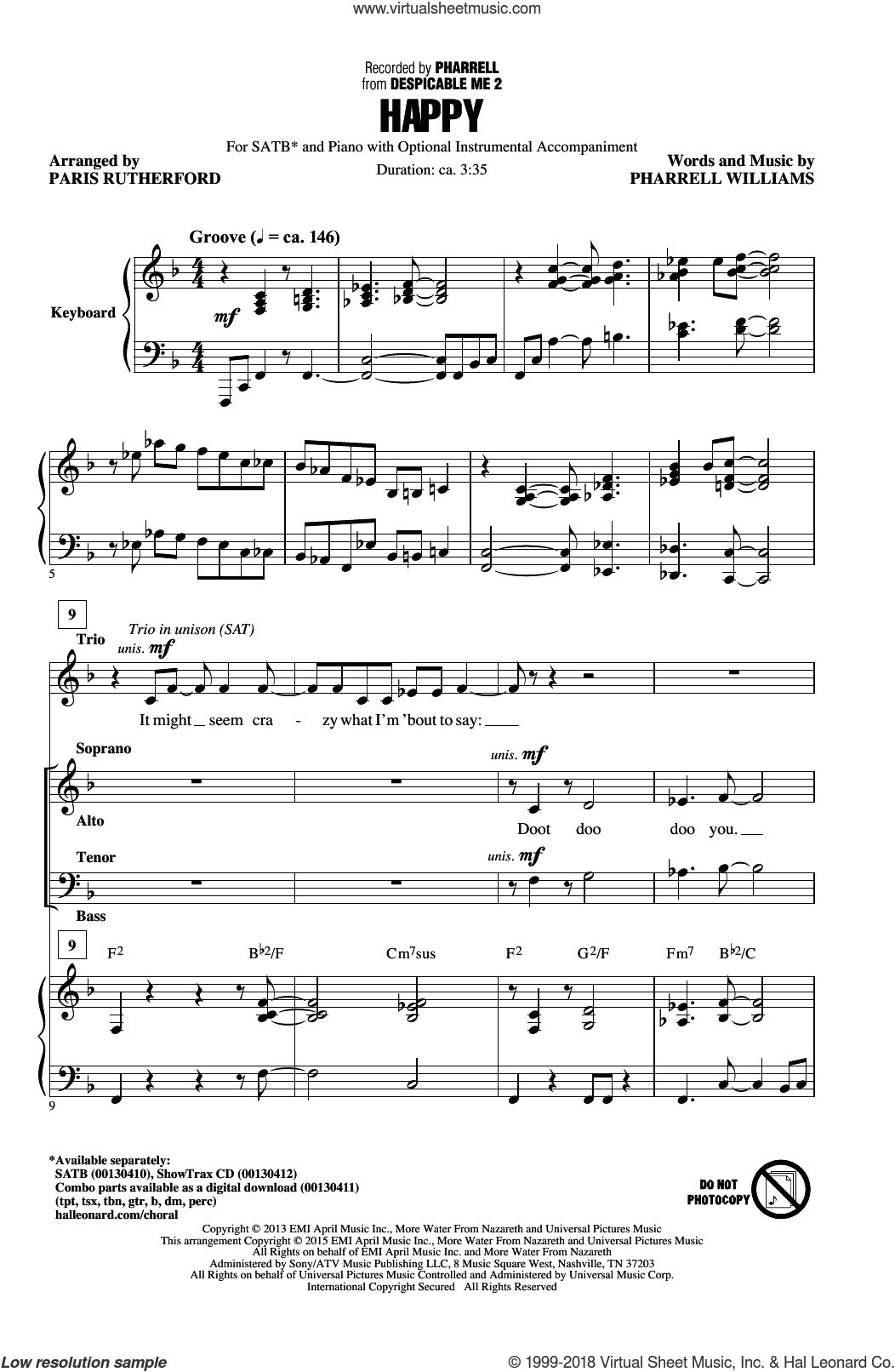 Happy sheet music for choir (SATB) by Pharrell Williams, Paris Rutherford and Pharrell. Score Image Preview.
