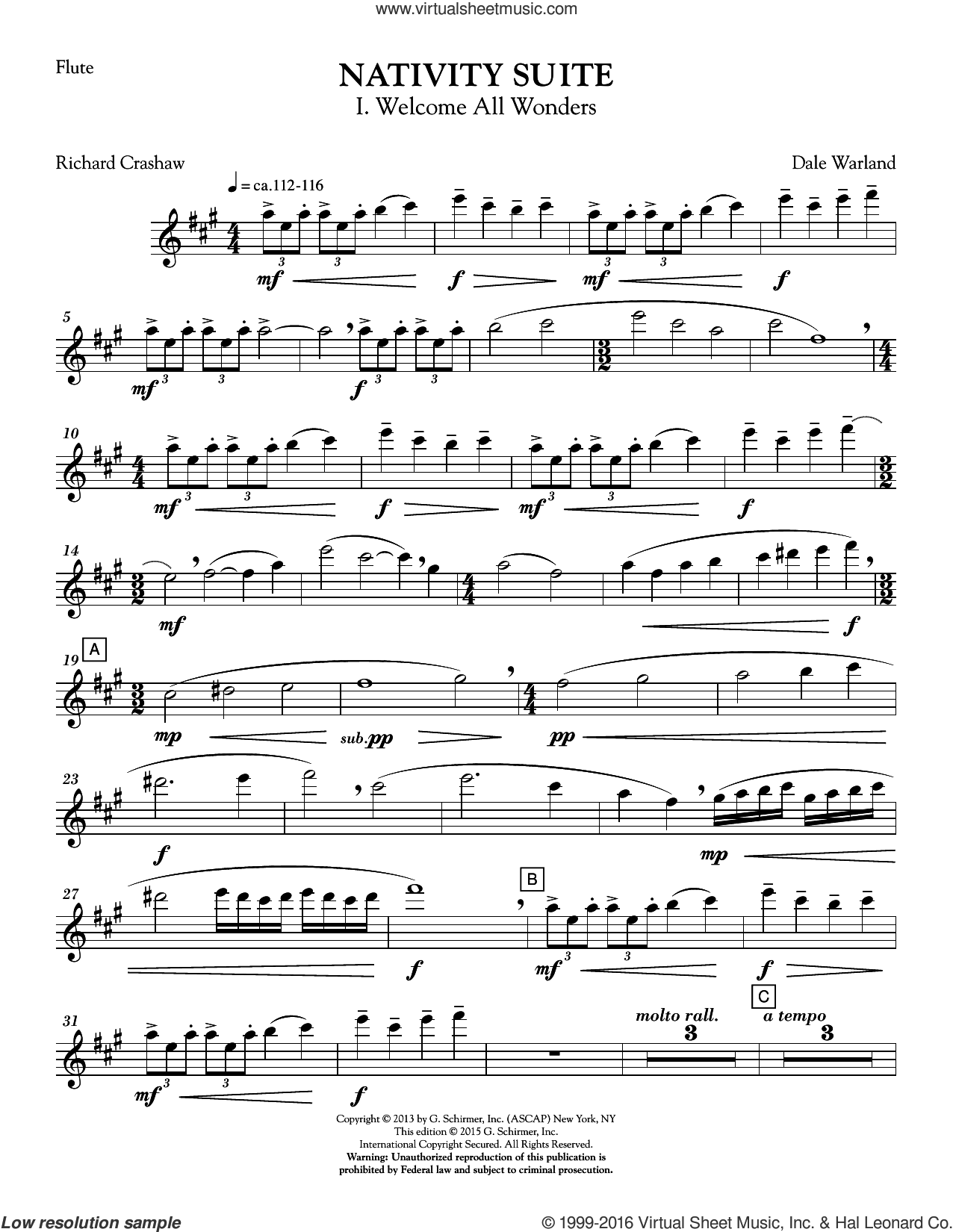 Nativity Suite (COMPLETE) sheet music for orchestra by Dale Warland. Score Image Preview.