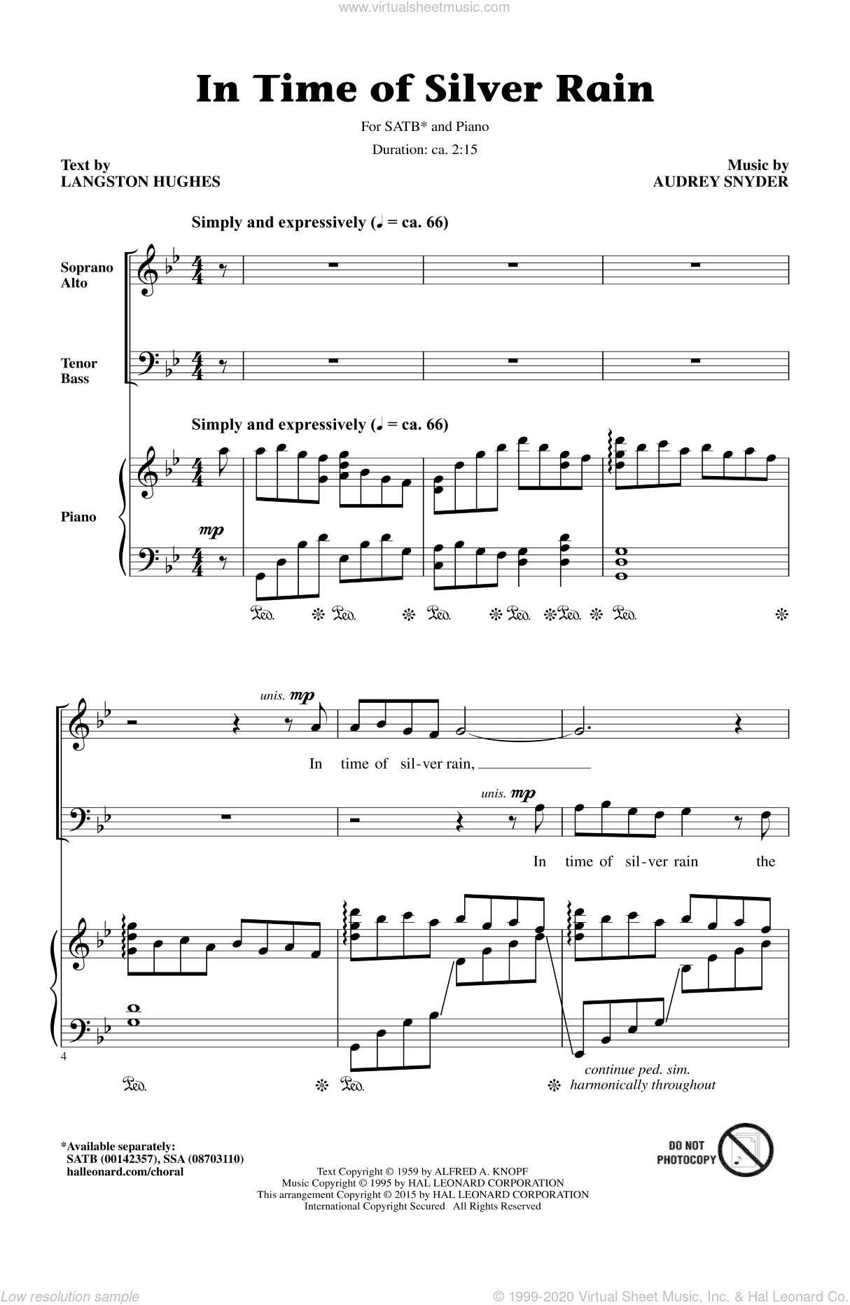 In Time Of Silver Rain sheet music for choir (SATB: soprano, alto, tenor, bass) by Audrey Snyder and Langston Hughes, intermediate skill level