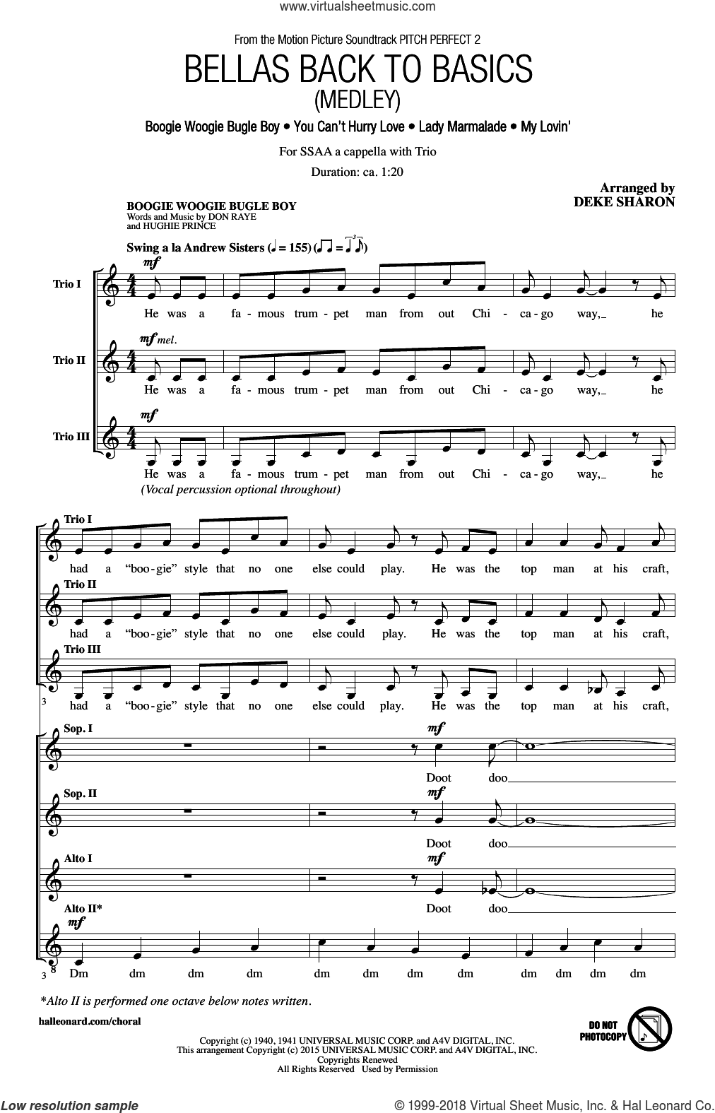Bellas Back To Basics (Medley) sheet music for choir (soprano voice, alto voice, choir) by Thomas McElroy and Deke Sharon. Score Image Preview.