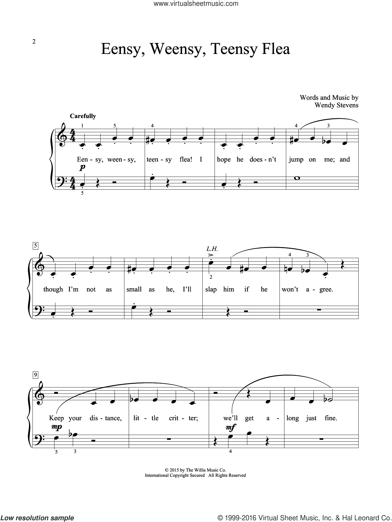 Eensy, Weensy, Teensy Flea sheet music for piano solo (elementary) by Wendy Stevens, beginner piano (elementary)