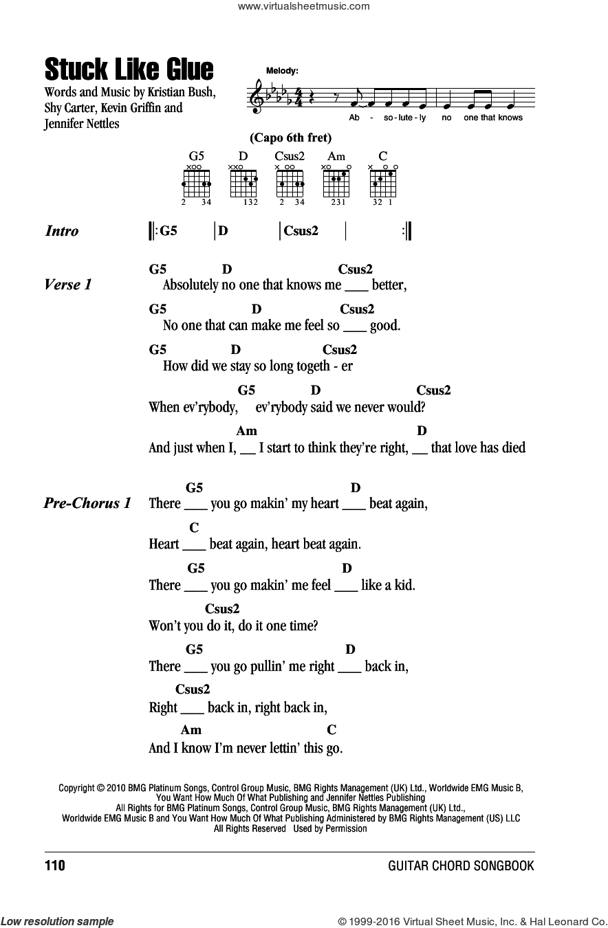 Sugarland Stuck Like Glue Sheet Music For Guitar Chords Pdf