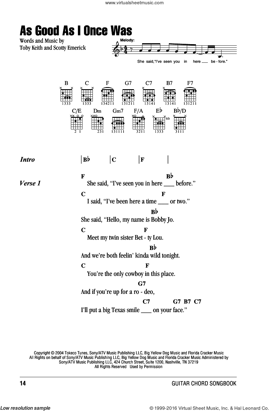 As Good As I Once Was sheet music for guitar (chords) by Toby Keith and Scotty Emerick. Score Image Preview.