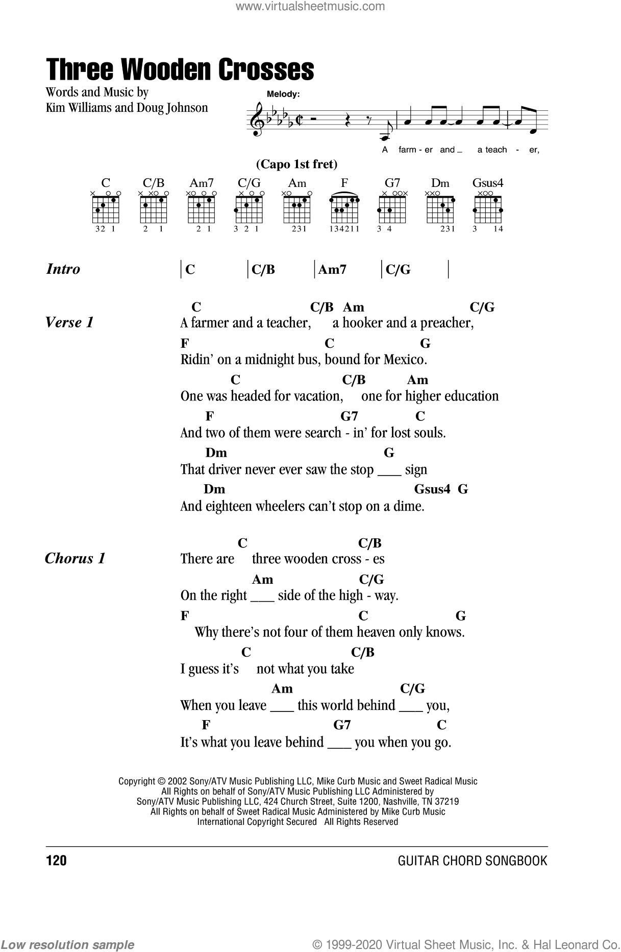 Three Wooden Crosses sheet music for guitar (chords) by Randy Travis, Doug Johnson and Kim Williams, intermediate guitar (chords). Score Image Preview.