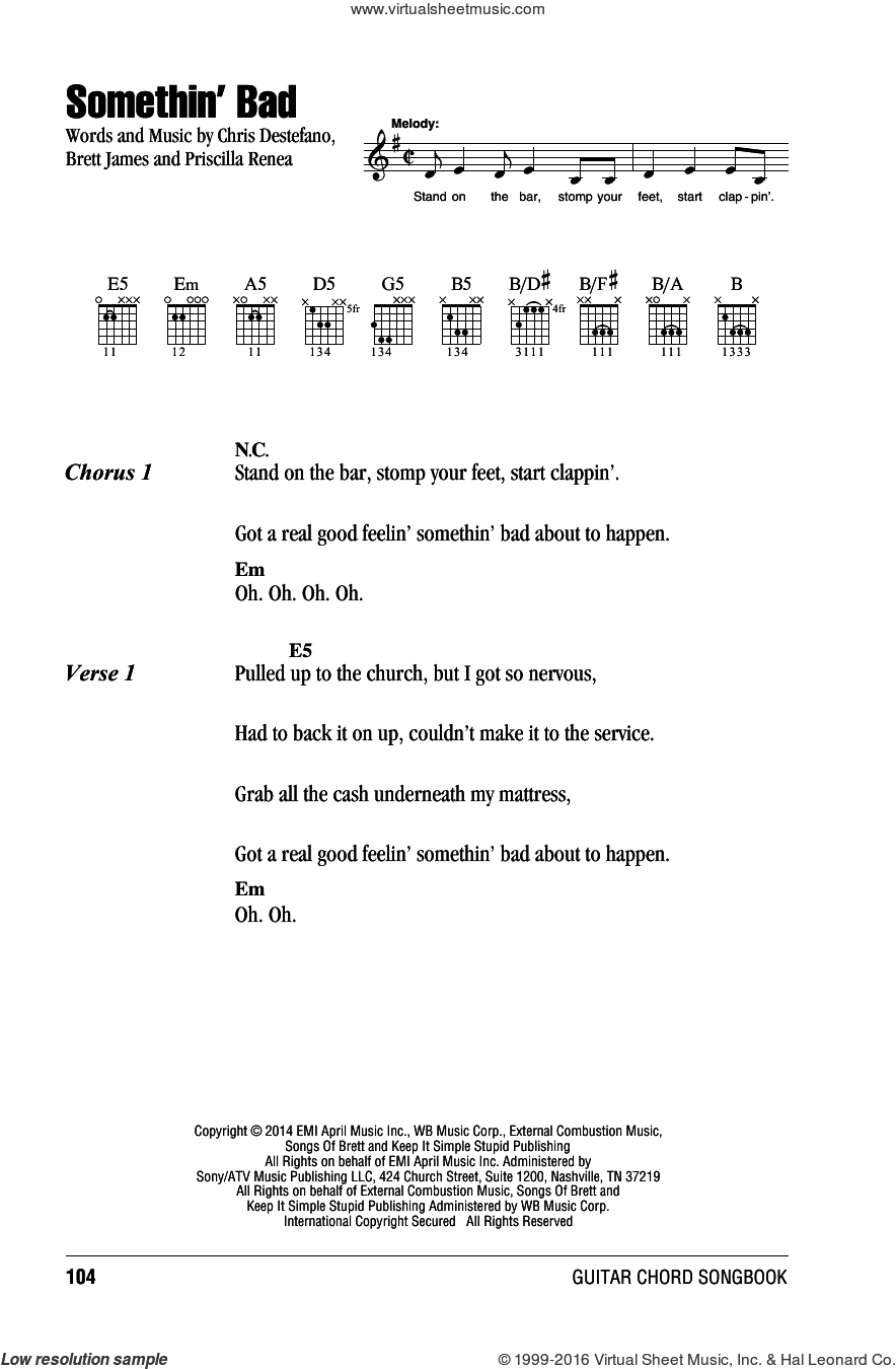 Somethin' Bad sheet music for guitar (chords) by Priscilla Renea, Brett James and Chris Destefano. Score Image Preview.