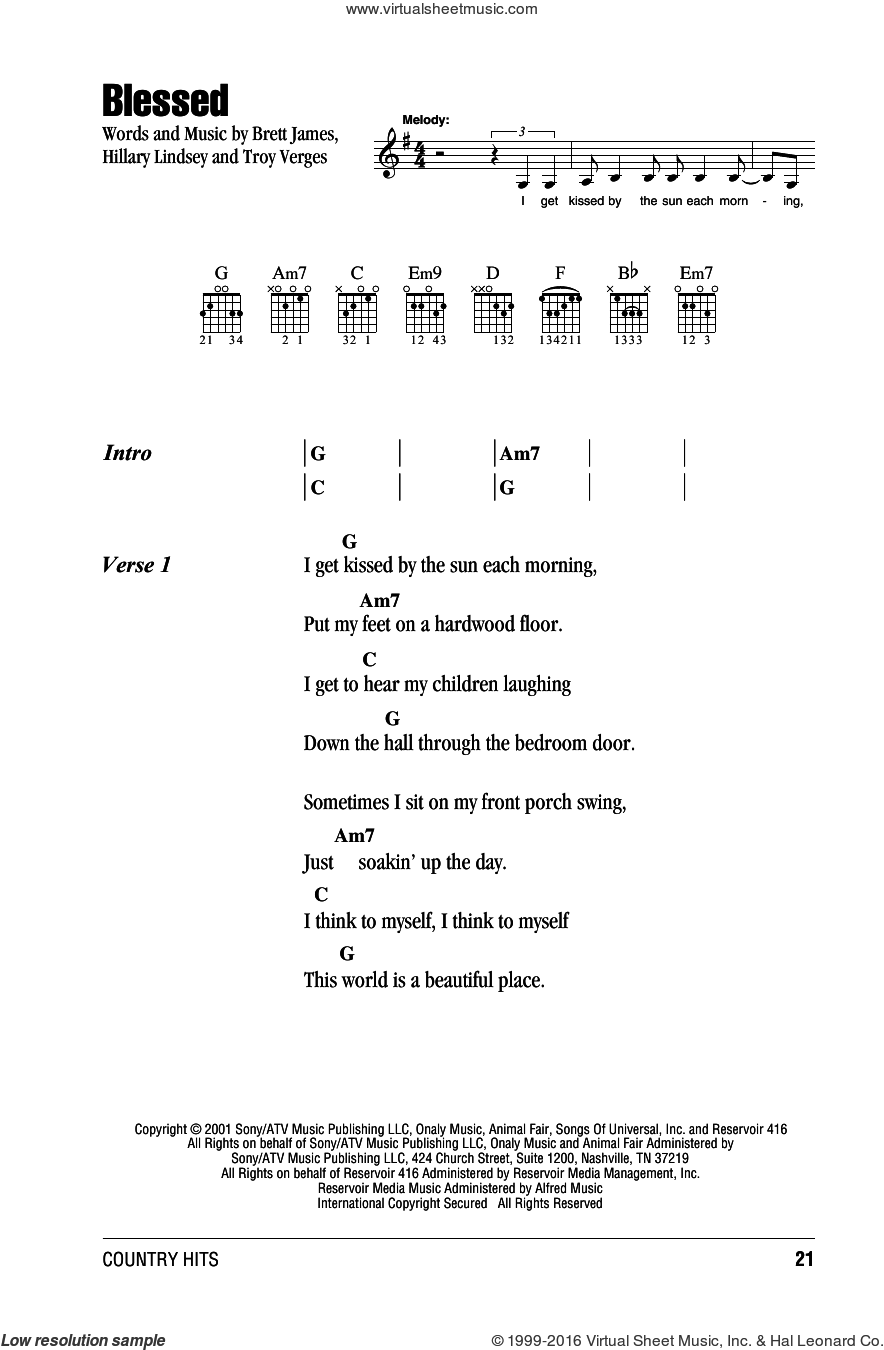 Blessed sheet music for guitar (chords) by Martina McBride, Brett James, Hillary Lindsey and Troy Verges, intermediate guitar (chords). Score Image Preview.