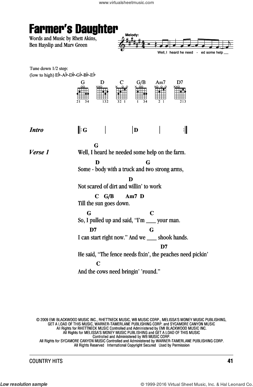 Farmer's Daughter sheet music for guitar (chords) by Rodney Atkins, Ben Hayslip, Marv Green and Rhett Akins, intermediate guitar (chords). Score Image Preview.