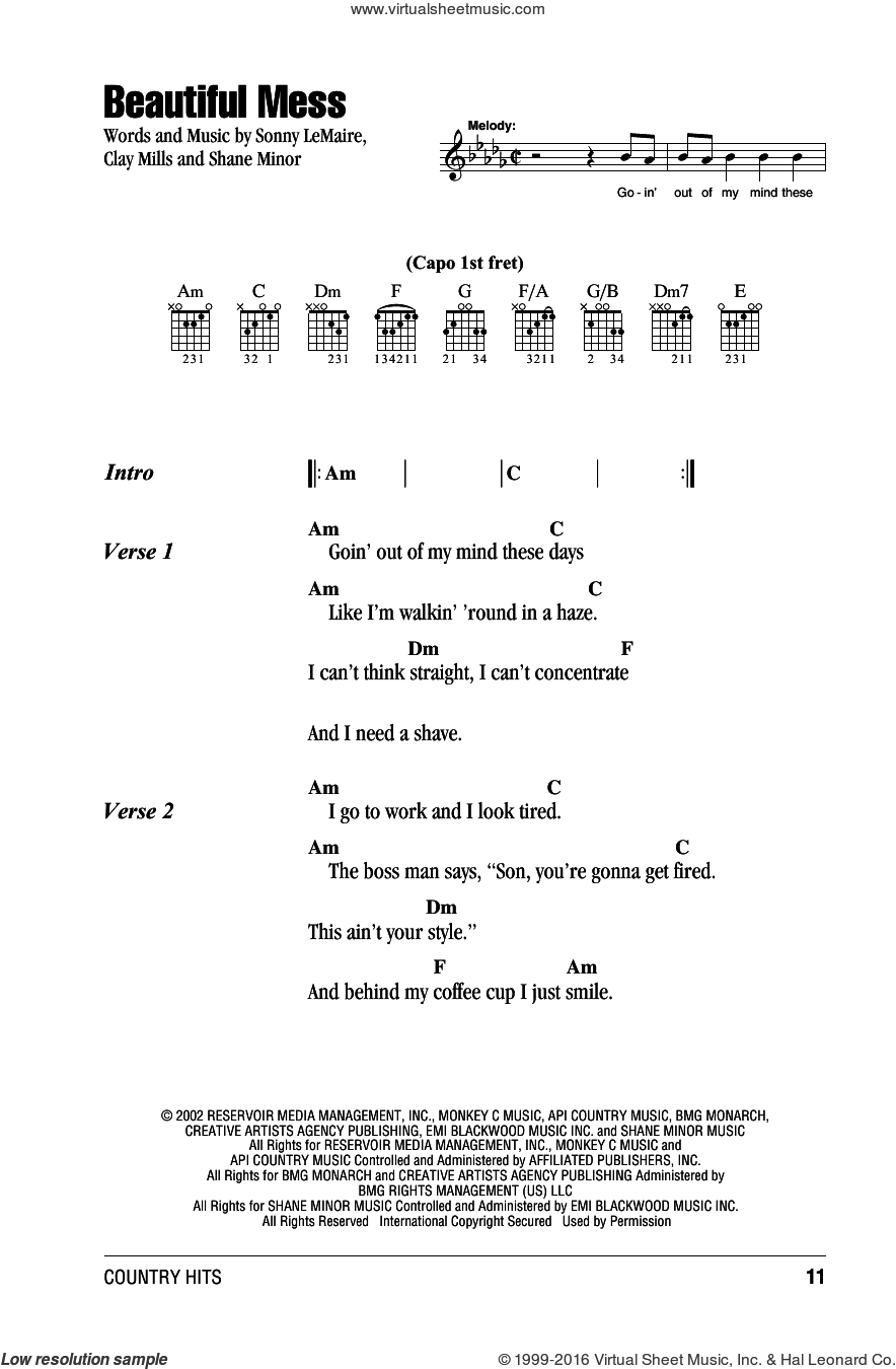 Beautiful Mess sheet music for guitar (chords) by Diamond Rio and Clay Mills, intermediate guitar (chords). Score Image Preview.