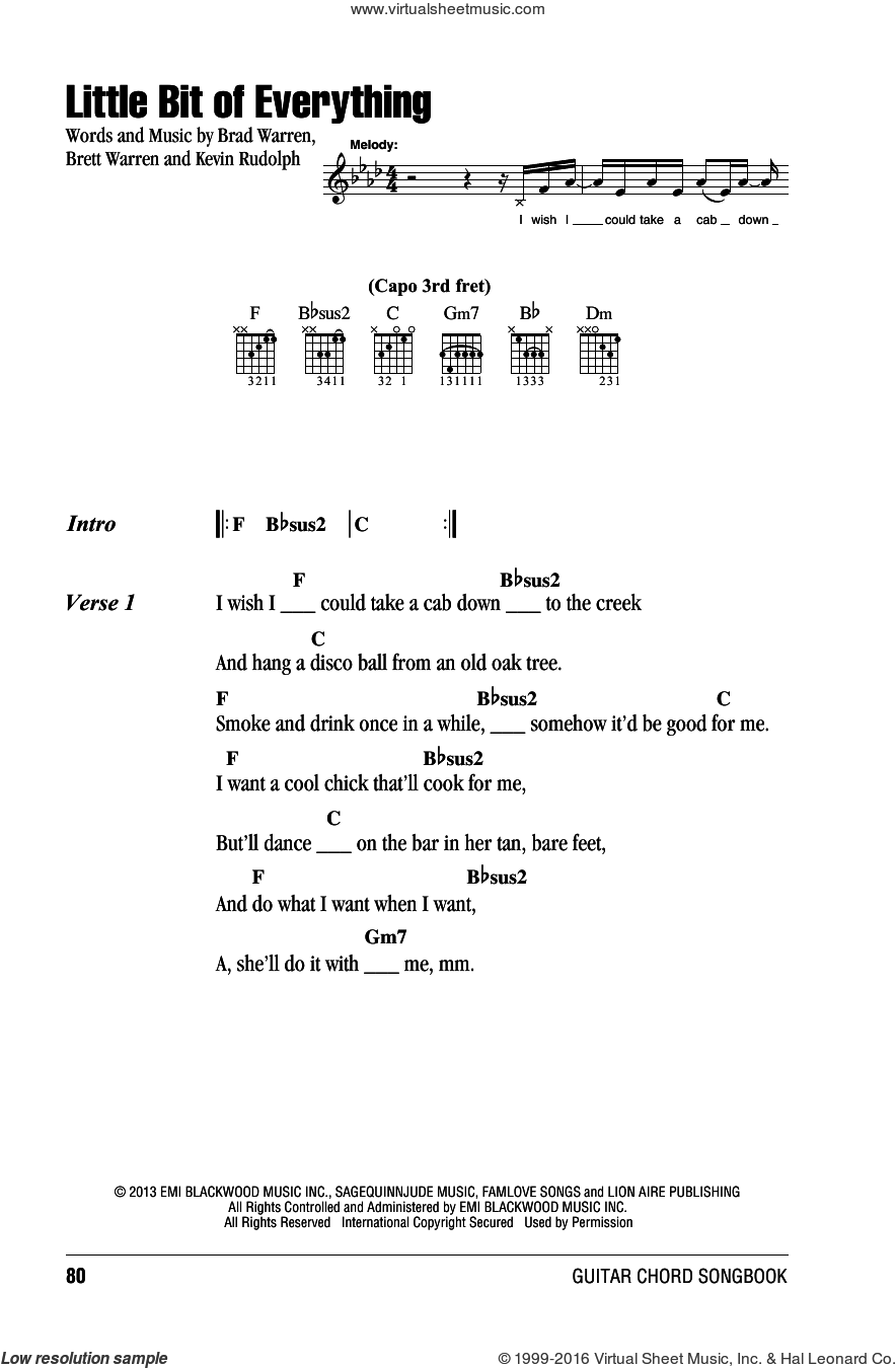 Little Bit Of Everything sheet music for guitar (chords) by Keith Urban, Brad Warren, Brett Warren and Kevin Rudolf, intermediate skill level