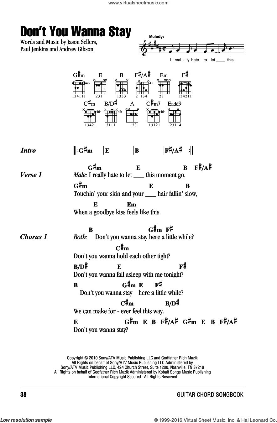 Don't You Wanna Stay sheet music for guitar (chords) by Jason Aldean with Kelly Clarkson, Andrew Gibson, Jason Sellers and Paul Jenkins, intermediate skill level