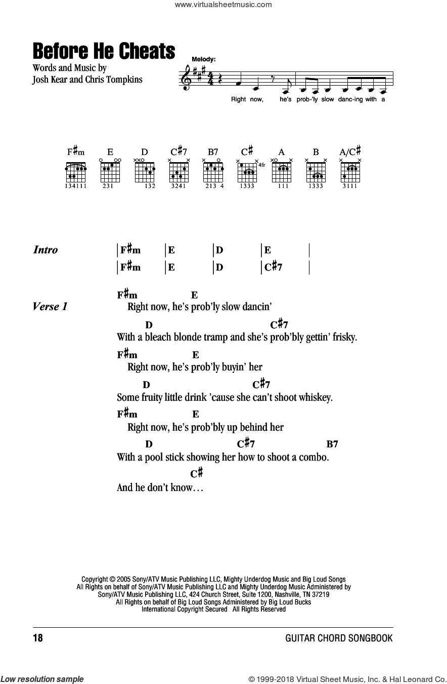 Before He Cheats sheet music for guitar (chords) by Carrie Underwood, Chris Tompkins and Josh Kear, intermediate skill level