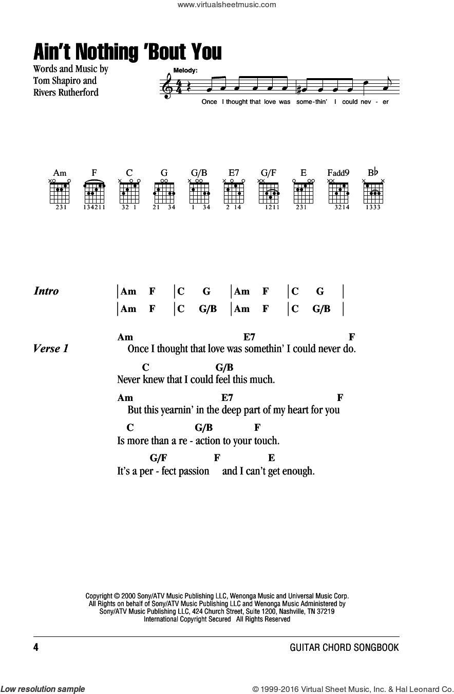 Ain't Nothing 'Bout You sheet music for guitar (chords) by Tom Shapiro