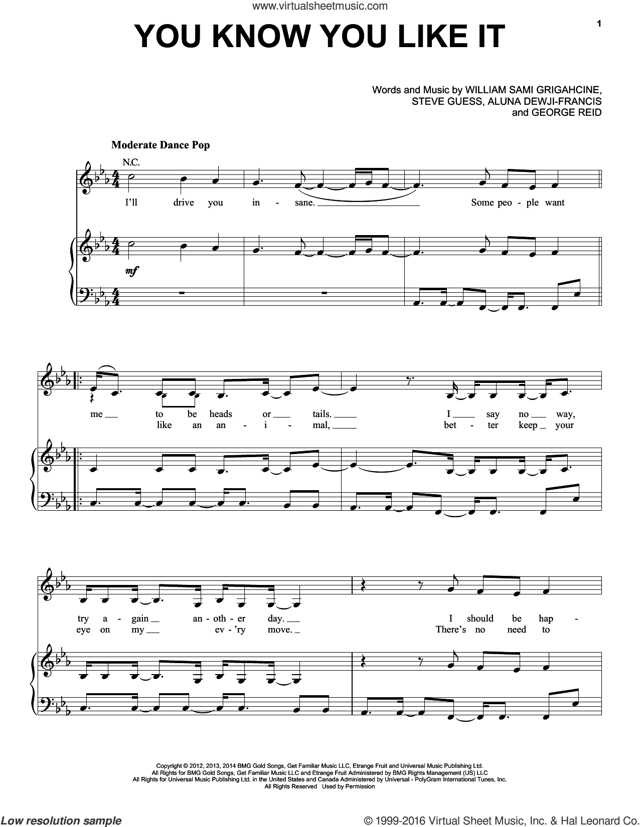 You Know You Like It sheet music for voice, piano or guitar by DJ Snake & AlunaGeorge, Aluna Dewji-Francis, George Reid, Martin Bresso, Steve Guess and William Sami Grigahcine, intermediate skill level