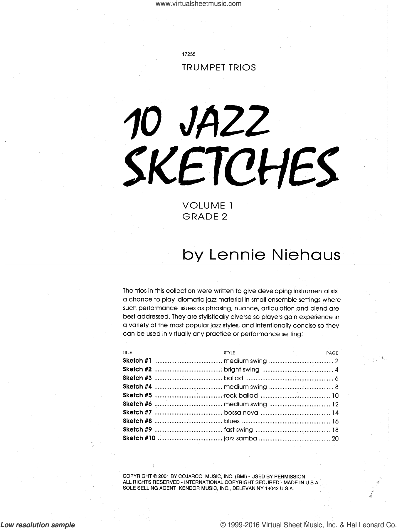 10 Jazz Sketches, Volume 1 sheet music for trumpet trio by Lennie Niehaus. Score Image Preview.