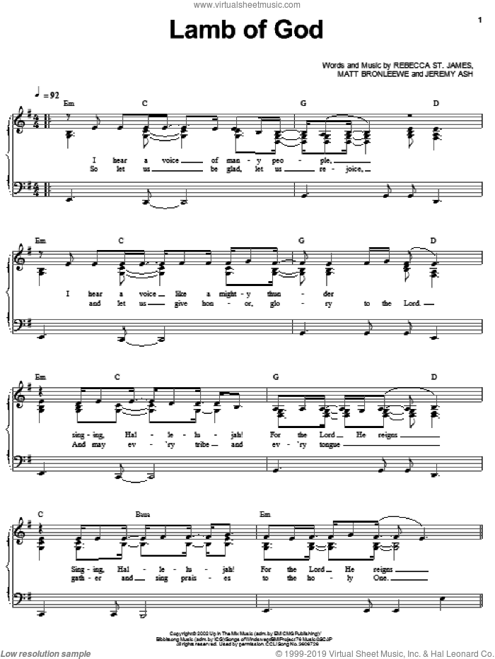 Lamb Of God sheet music for voice, piano or guitar by Rebecca St. James and Twila Paris, intermediate skill level