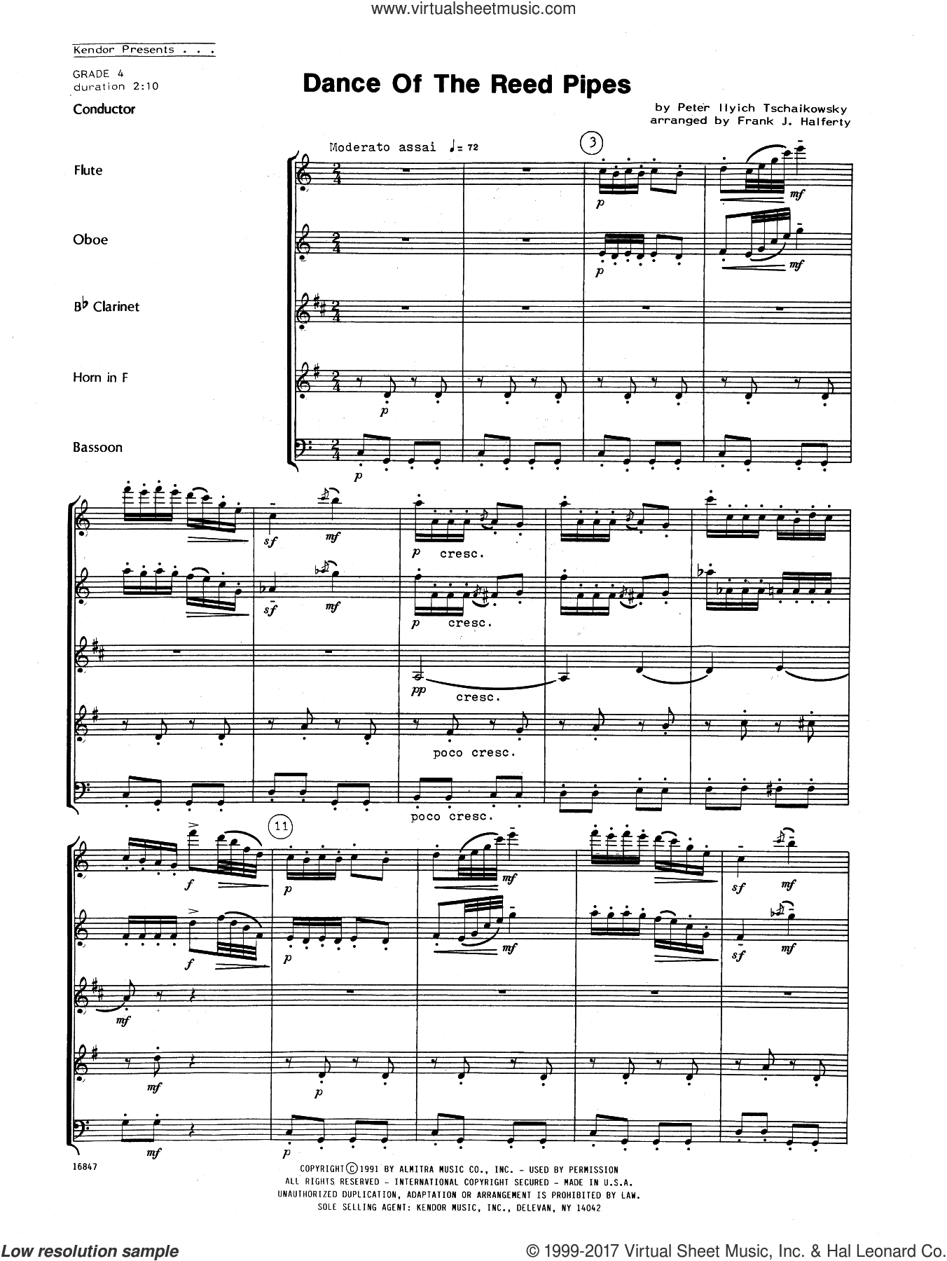 Dance Of The Reed Pipes (COMPLETE) sheet music for wind quintet by Pyotr Ilyich Tchaikovsky and Frank J. Halferty, classical score, intermediate wind quintet. Score Image Preview.