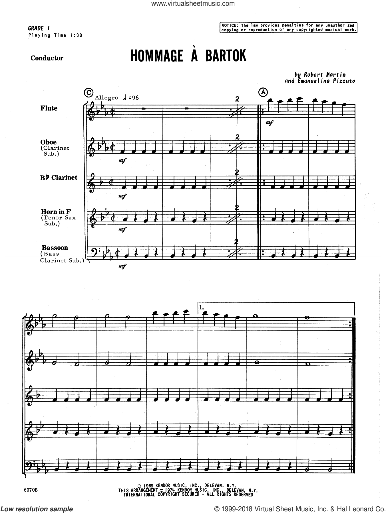 Hommage A Bartok (COMPLETE) sheet music for wind quintet by Martin and Pizzuto, classical score, intermediate skill level