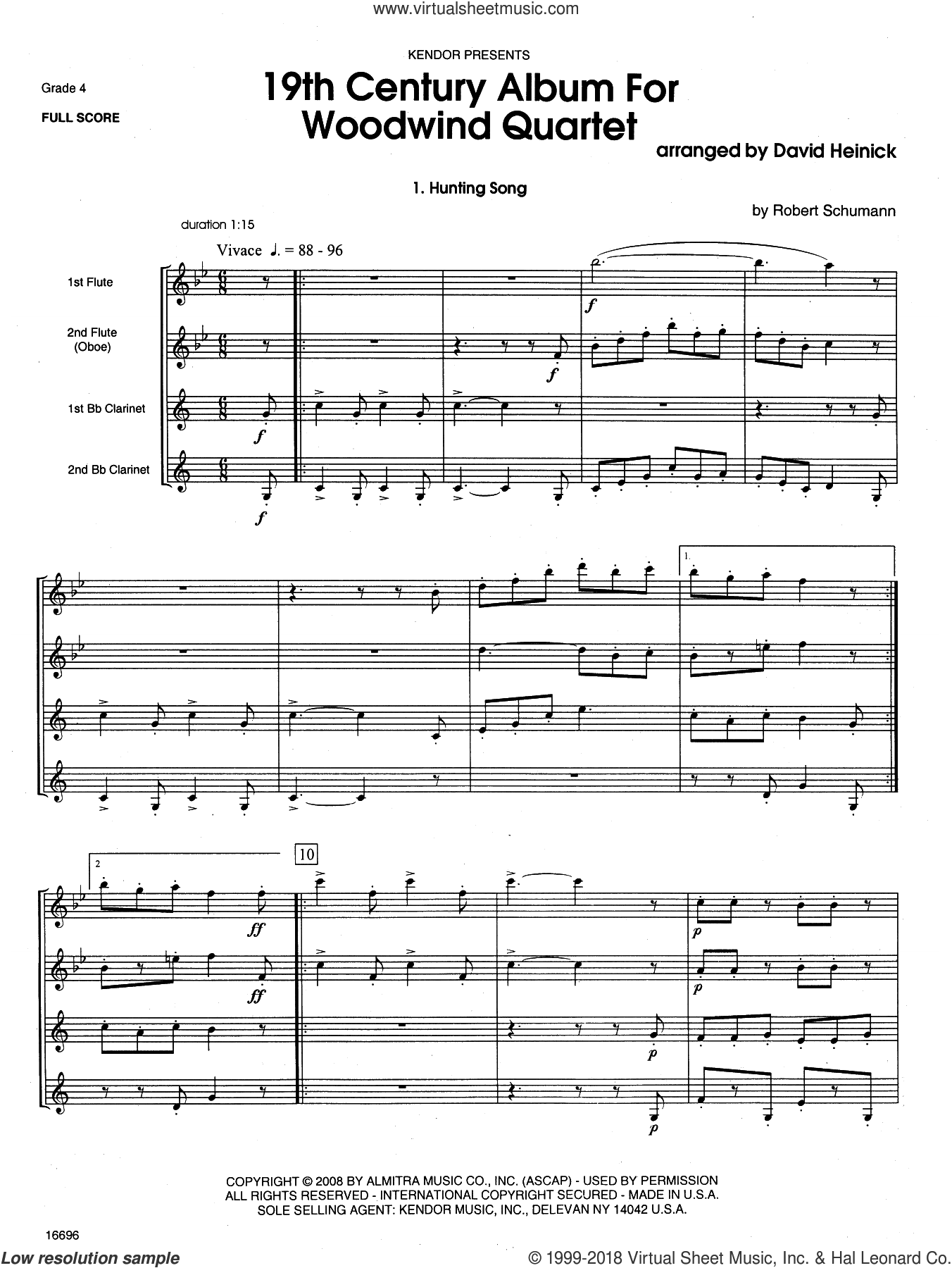 19th Century Album For Woodwind Quartet (COMPLETE) sheet music for wind quartet by David Heinick, classical score, intermediate skill level