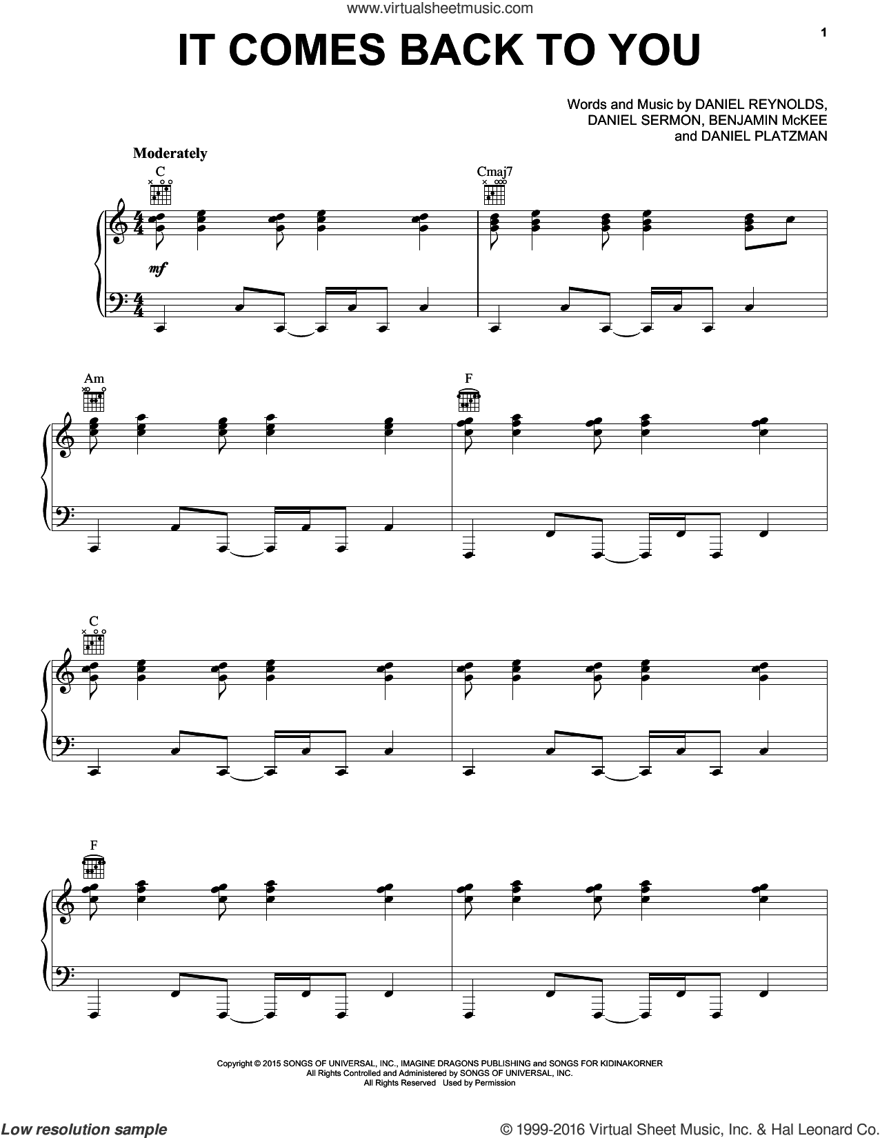 It Comes Back To You sheet music for voice, piano or guitar by Daniel Sermon, Imagine Dragons and Daniel Reynolds. Score Image Preview.