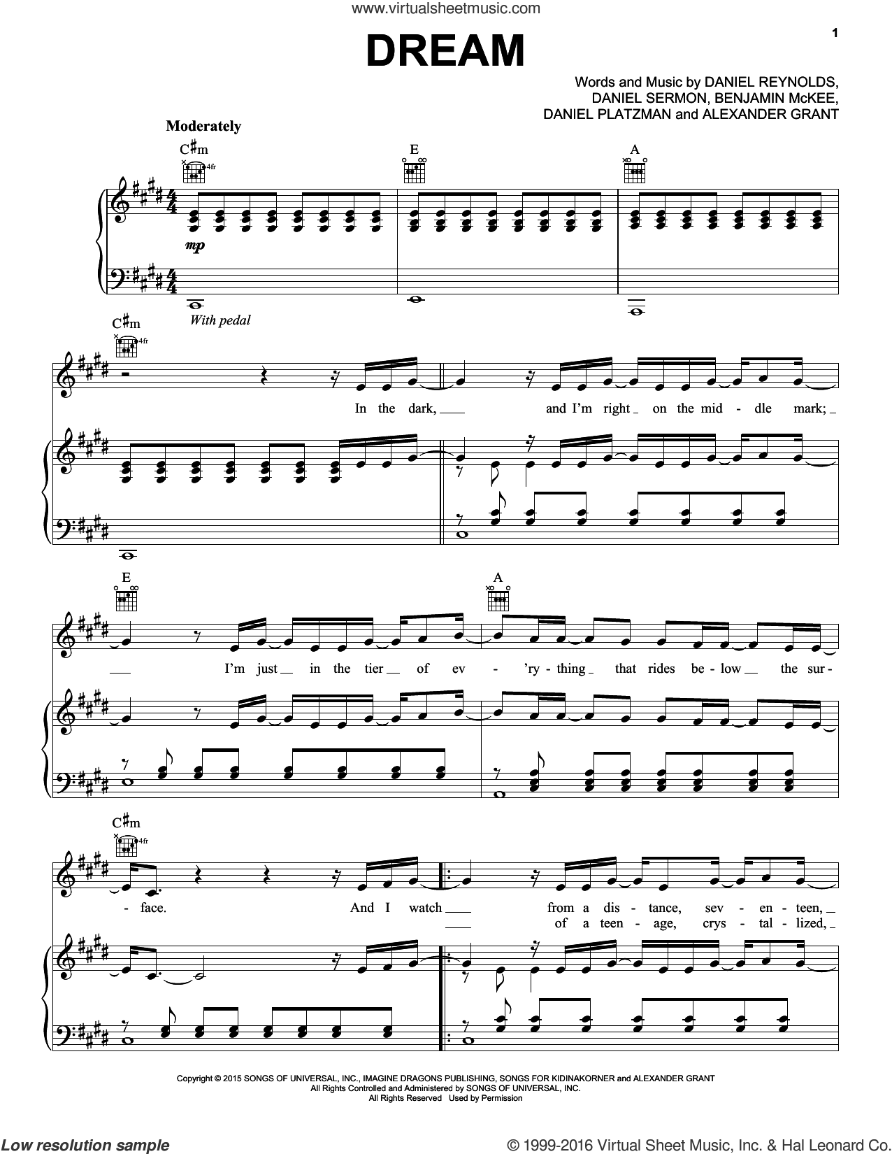 Dream sheet music for voice, piano or guitar by Imagine Dragons, Alexander Grant, Benjamin McKee, Daniel Platzman, Daniel Reynolds and Daniel Sermon, intermediate skill level