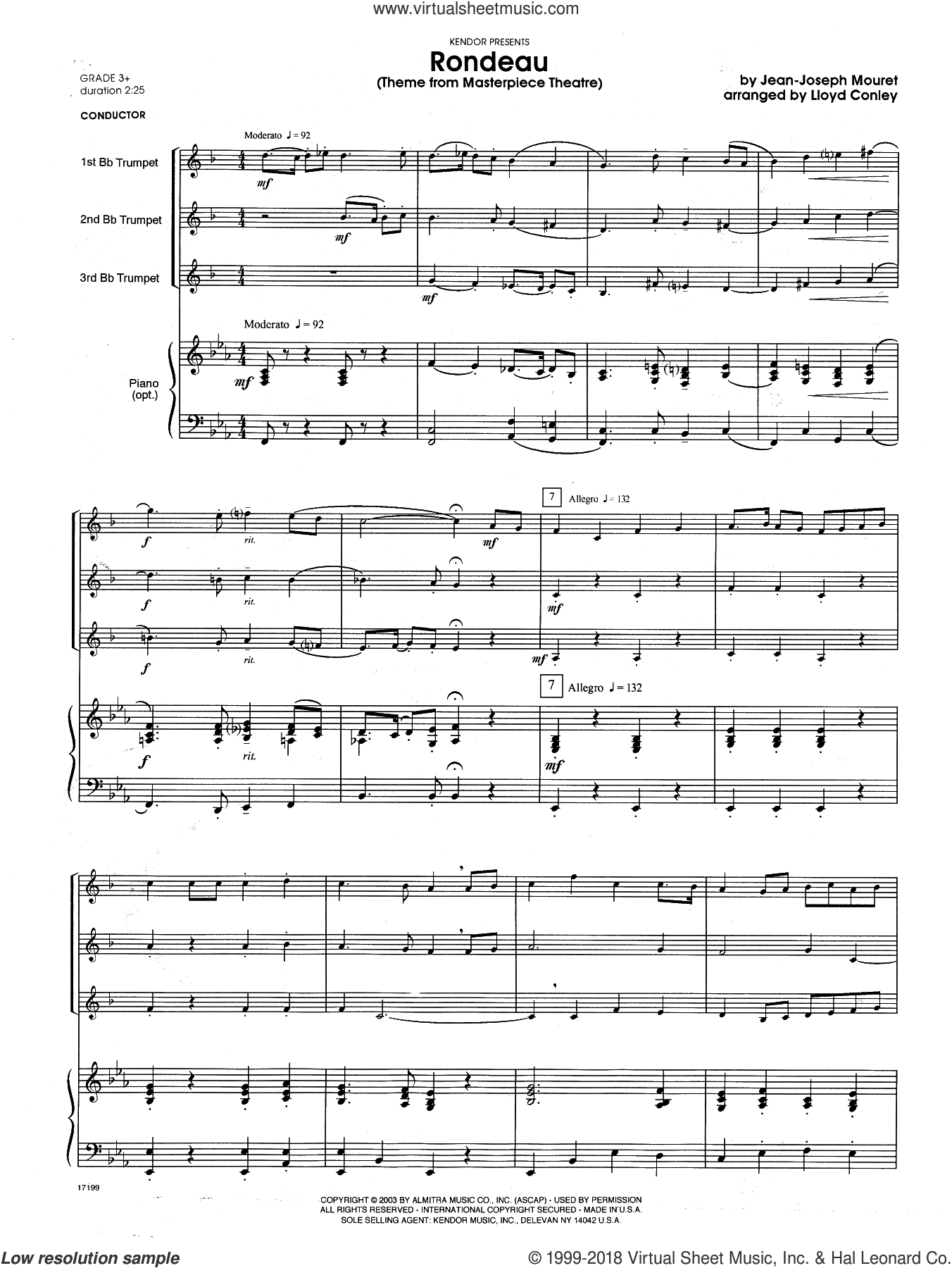 Rondeau (Theme From Masterpiece Theatre) (COMPLETE) sheet music for trumpet trio and piano by Lloyd Conley and Mouret, classical score, intermediate