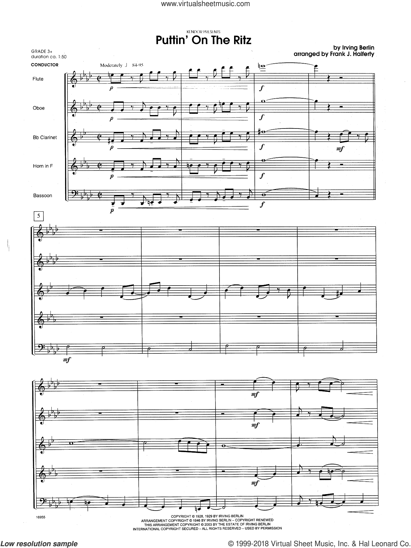Puttin' on the Ritz (COMPLETE) sheet music for wind quintet by Frank J. Halferty and Berlin, intermediate