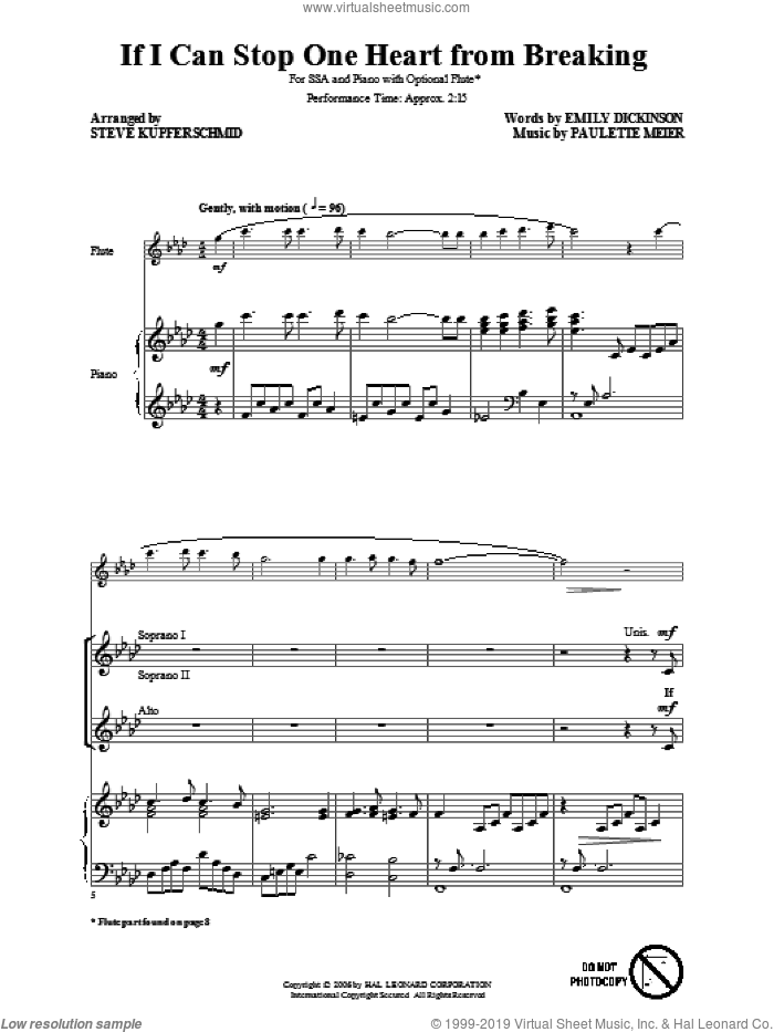 If I Can Stop One Heart From Breaking sheet music for choir and piano (SSA) by Emily Dickinson and Steve Kupferschmid. Score Image Preview.