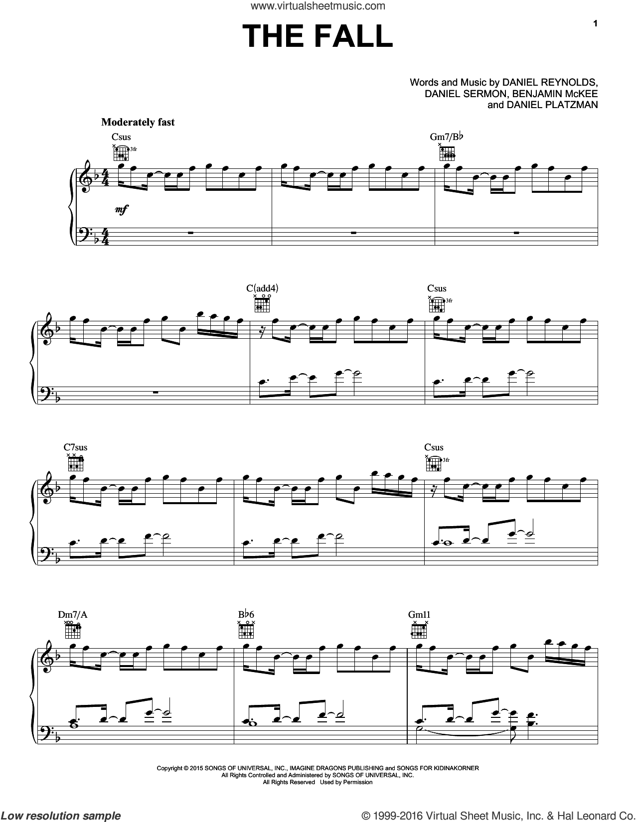 The Fall sheet music for voice, piano or guitar by Daniel Sermon, Imagine Dragons and Daniel Reynolds. Score Image Preview.