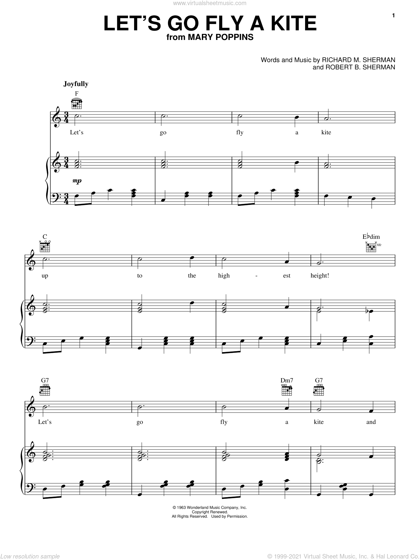 Let's Go Fly A Kite sheet music for voice, piano or guitar by Dave Tomlinson, Mary Poppins (Movie), Sherman Brothers, Richard M. Sherman and Robert B. Sherman, intermediate skill level