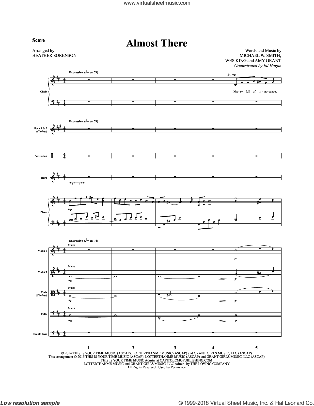 Almost There (COMPLETE) sheet music for orchestra/band by Heather Sorenson, Amy Grant, Michael W. Smith and Wes King, intermediate. Score Image Preview.