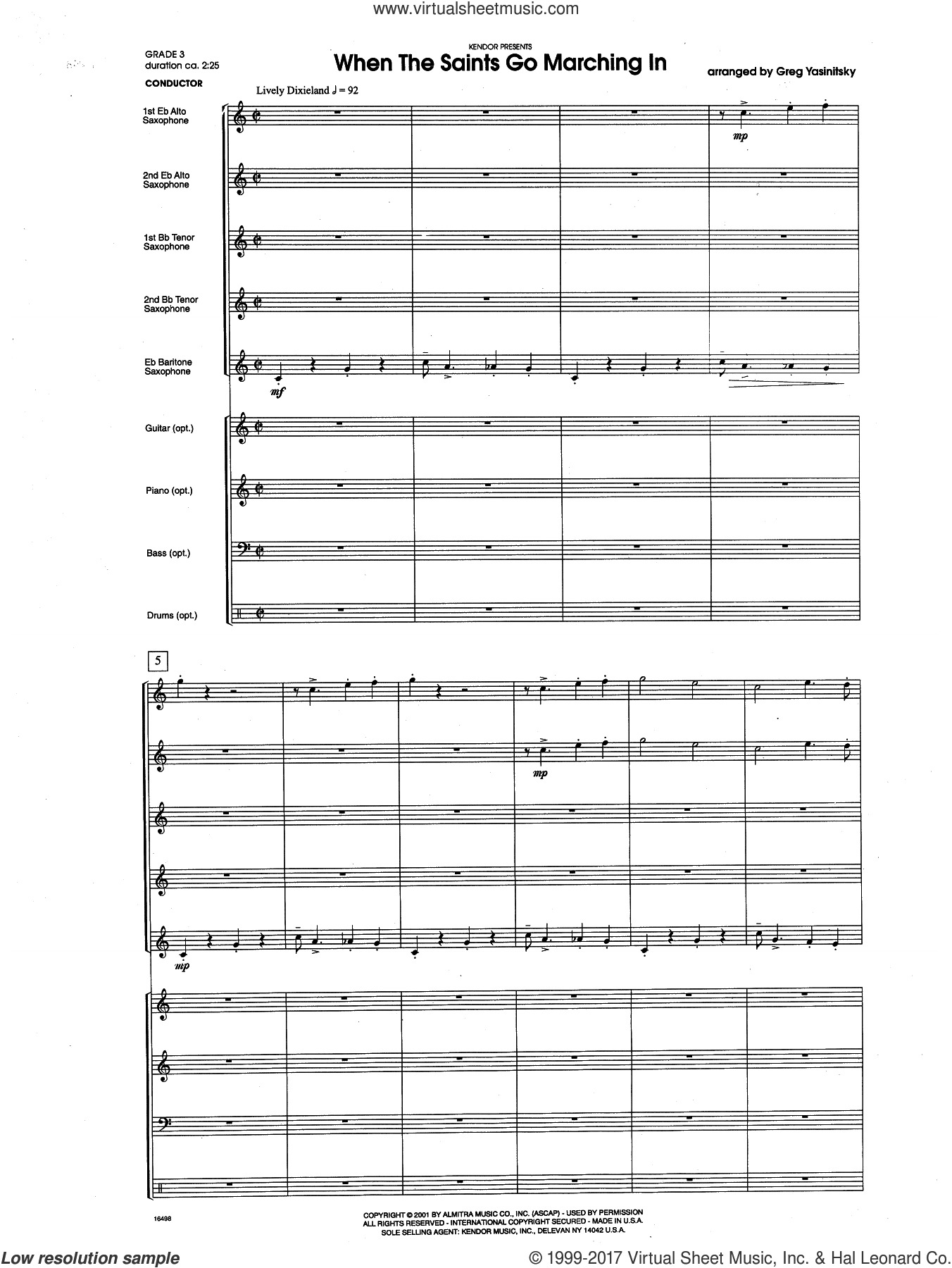 When the Saints Go Marching In (COMPLETE) sheet music for band by Gregory Yasinitsky, intermediate band. Score Image Preview.