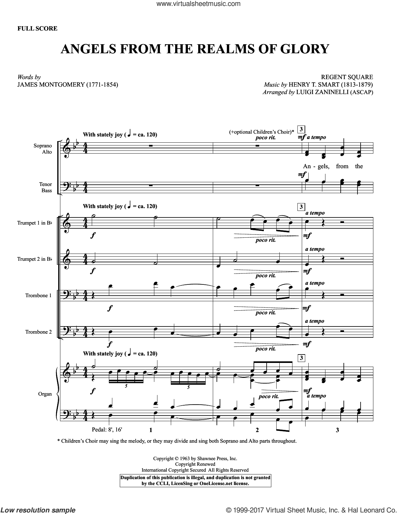Angels from the Realms of Glory (COMPLETE) sheet music for orchestra/band by James Montgomery, Henry T. Smart and Luigi Zaninelli, Christmas carol score, intermediate orchestra/band. Score Image Preview.