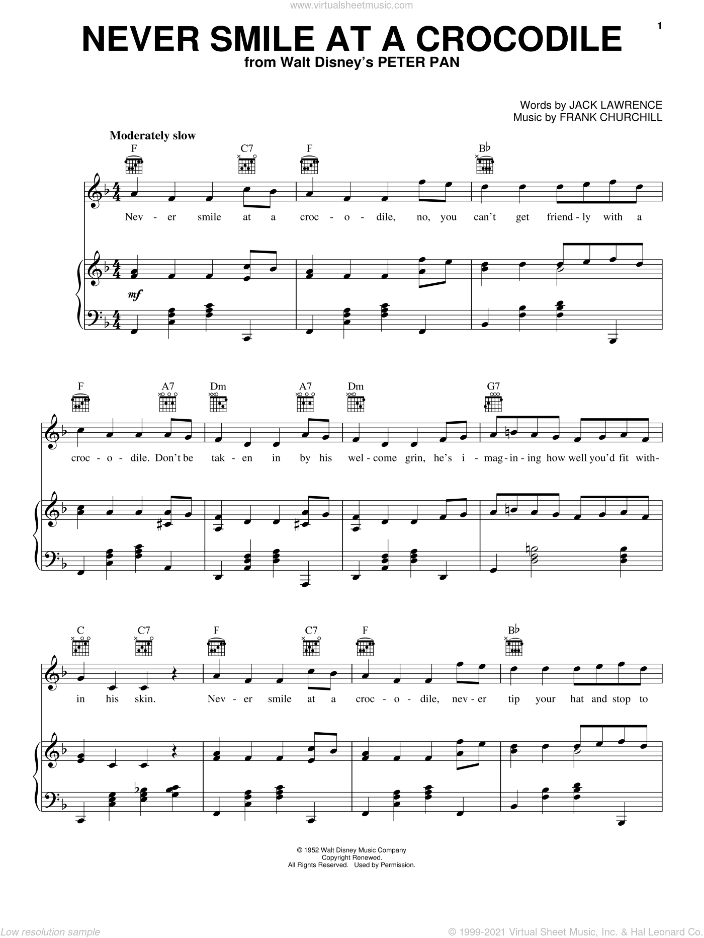 Never Smile At A Crocodile sheet music for voice, piano or guitar by Jack Lawrence and Frank Churchill, intermediate skill level