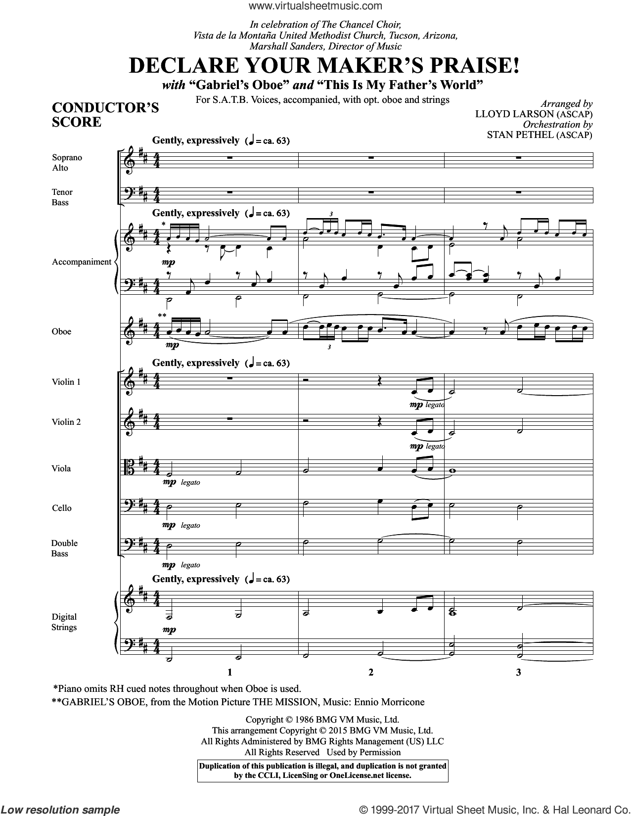 Declare Your Maker's Praise! (COMPLETE) sheet music for orchestra/band by Lloyd Larson and Ennio Morricone, intermediate