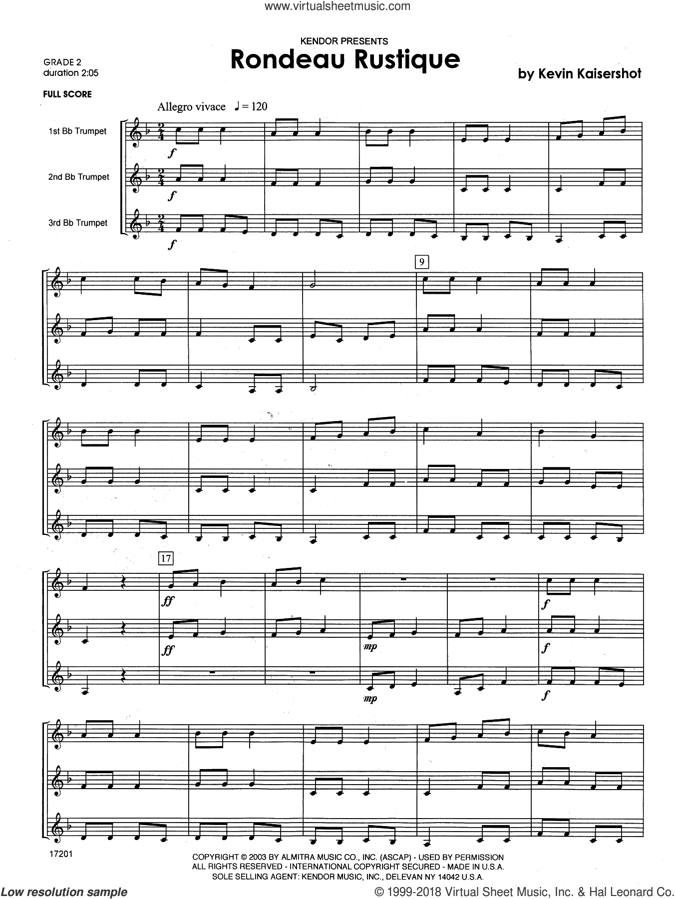 Kaisershot - Rondeau Rustique sheet music (complete collection) for trumpet  trio
