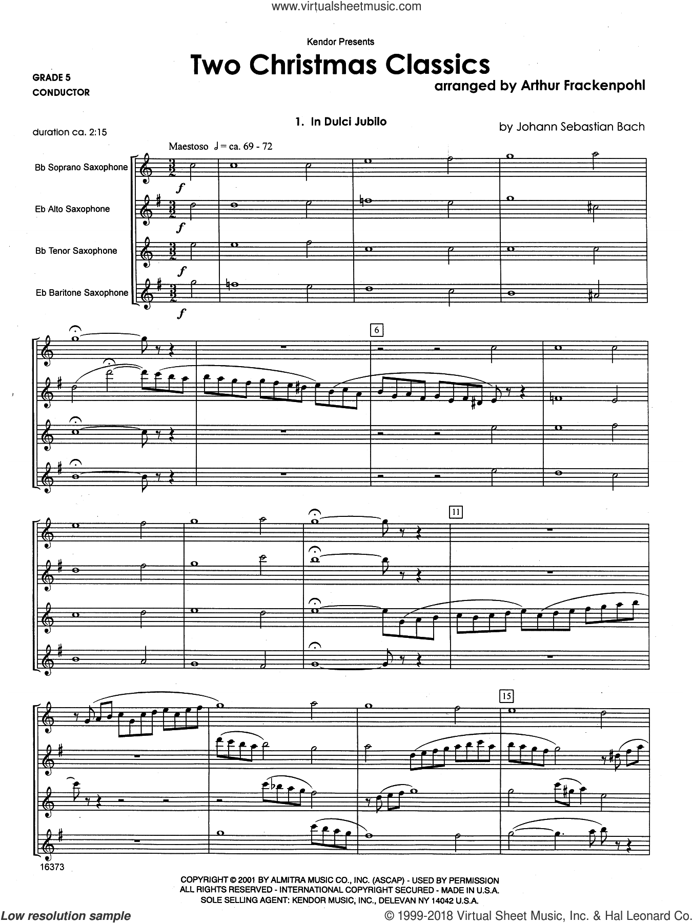 Two Christmas Classics (COMPLETE) sheet music for saxophone quartet by Arthur Frackenpohl, intermediate skill level
