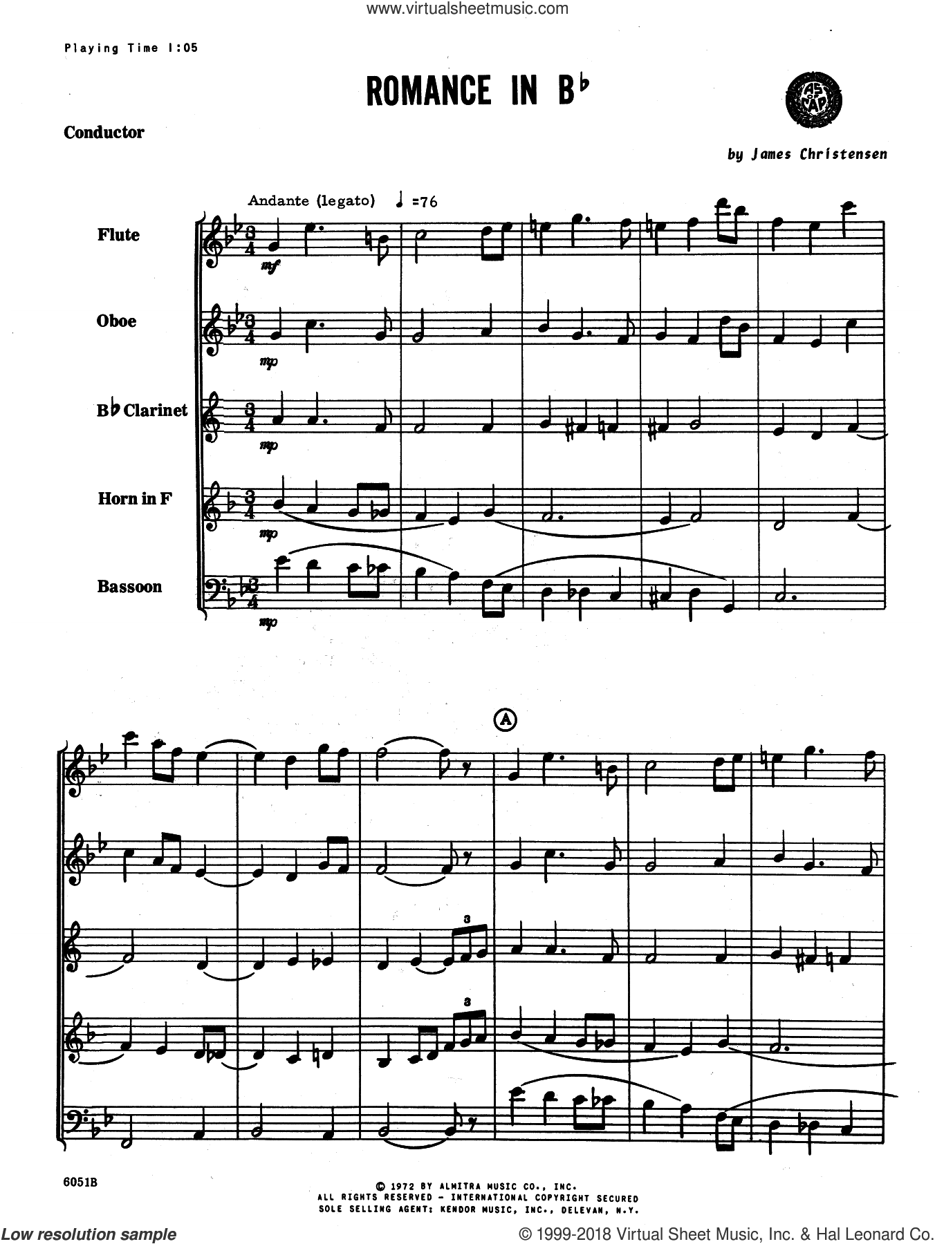 Romance In Bb (COMPLETE) sheet music for wind quintet by James Christensen, classical score, intermediate. Score Image Preview.