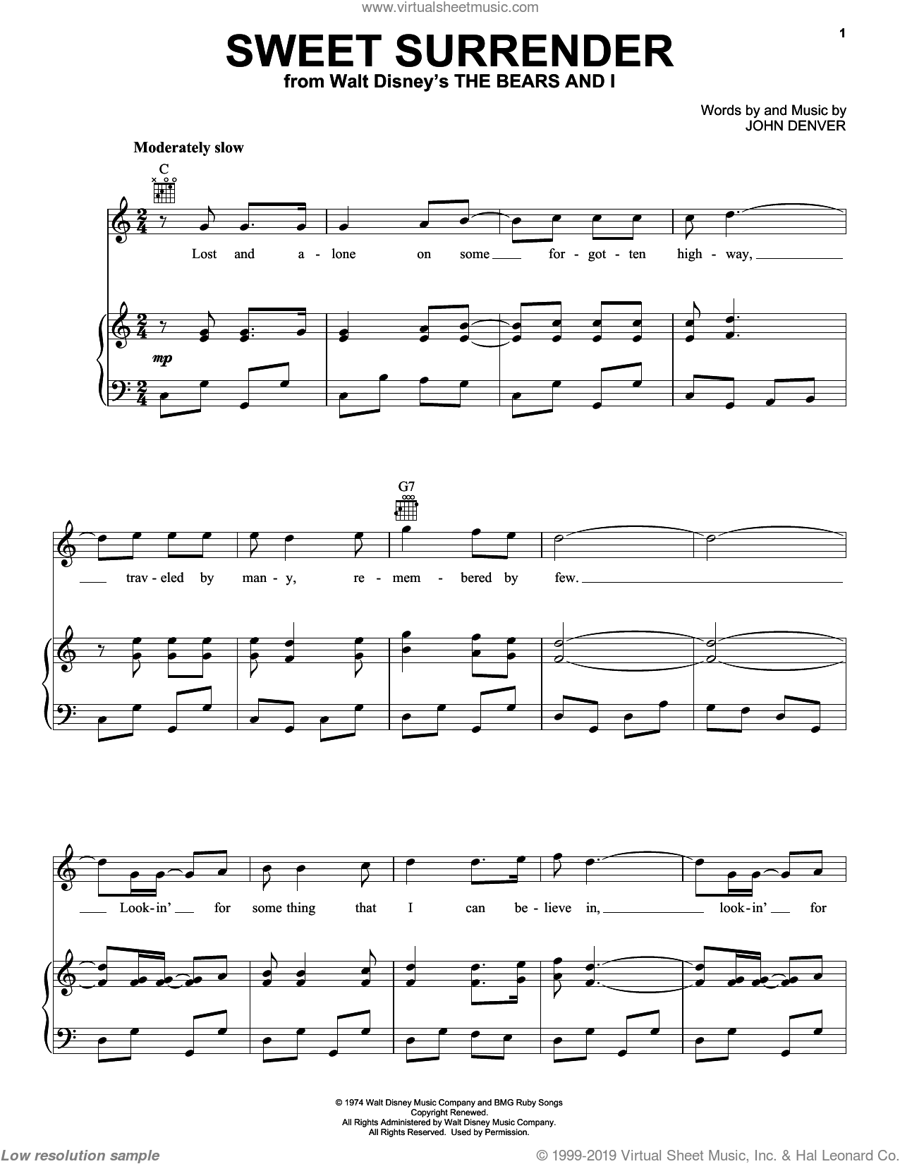 Sweet Surrender sheet music for voice, piano or guitar by John Denver, intermediate skill level