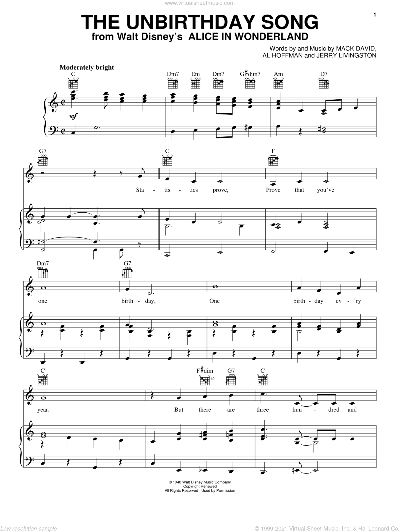 The Unbirthday Song sheet music for voice, piano or guitar by Jerry Livingston, Al Hoffman and Mack David. Score Image Preview.