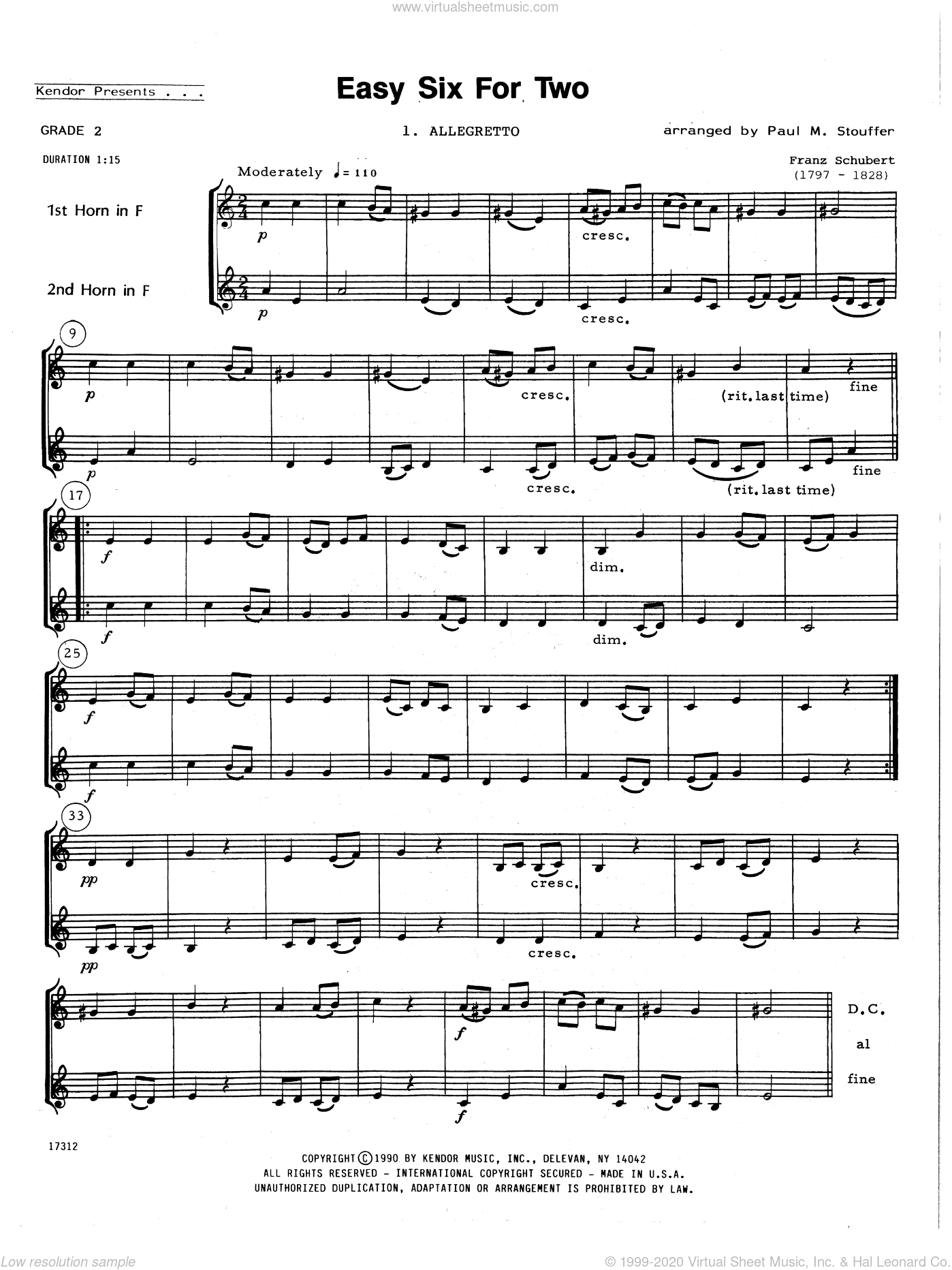 Easy Six For Two sheet music for two horns by Paul M. Stouffer, classical score, intermediate duet