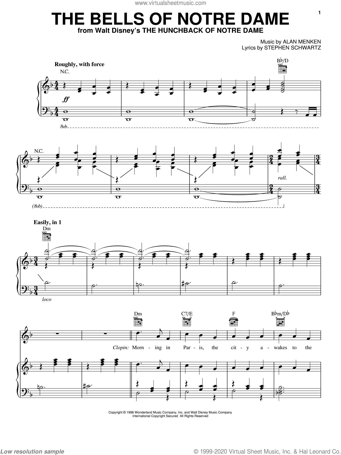 The Bells Of Notre Dame sheet music for voice, piano or guitar by Alan Menken and Stephen Schwartz, intermediate skill level