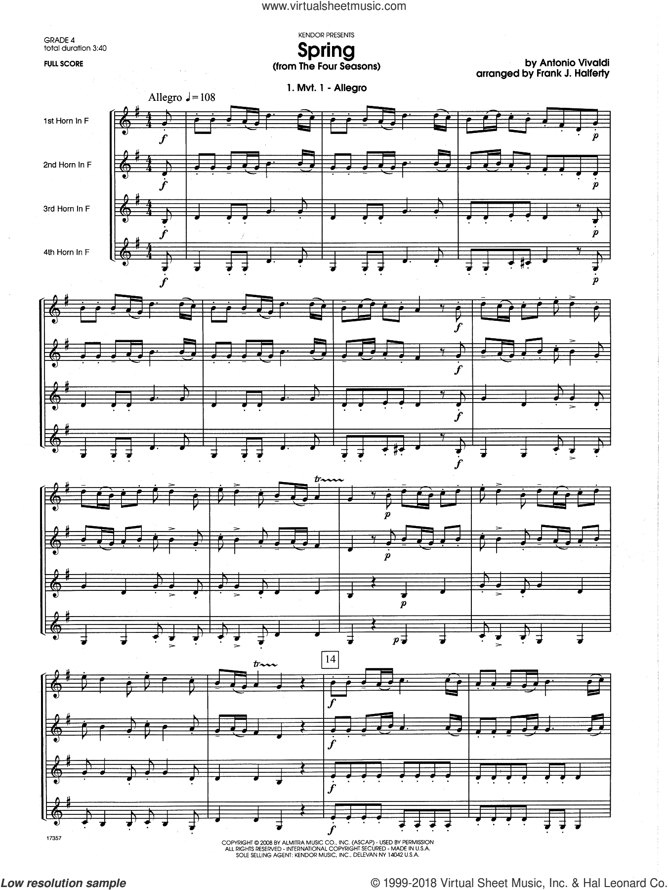 Spring (from The Four Seasons) (COMPLETE) sheet music for horn quartet by Antonio Vivaldi and Frank J. Halferty, classical score, intermediate skill level